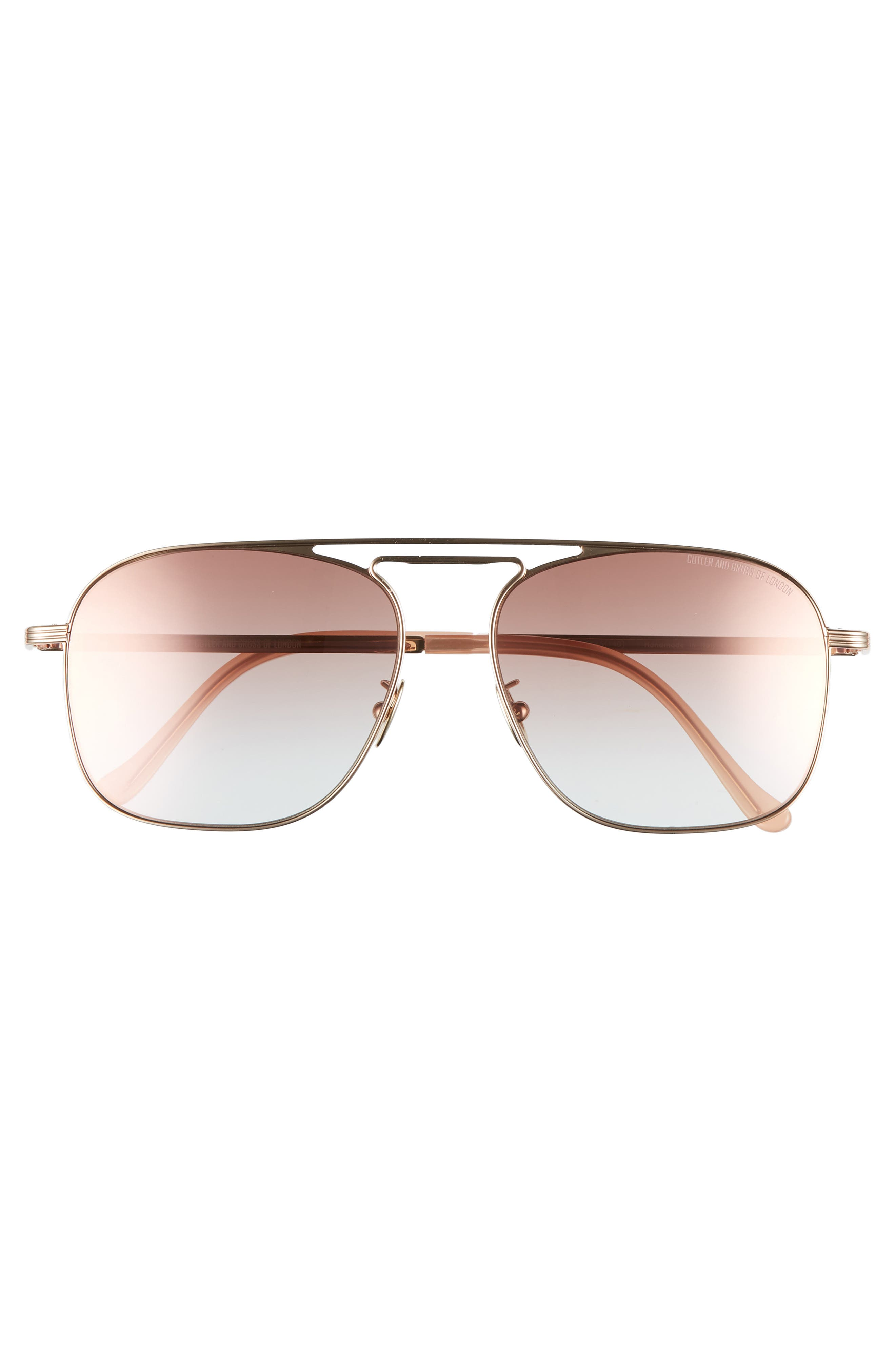 56mm Polarized Navigator Sunglasses,                             Alternate thumbnail 2, color,                             ROSE GOLD/ PINK CHAMPAGNE