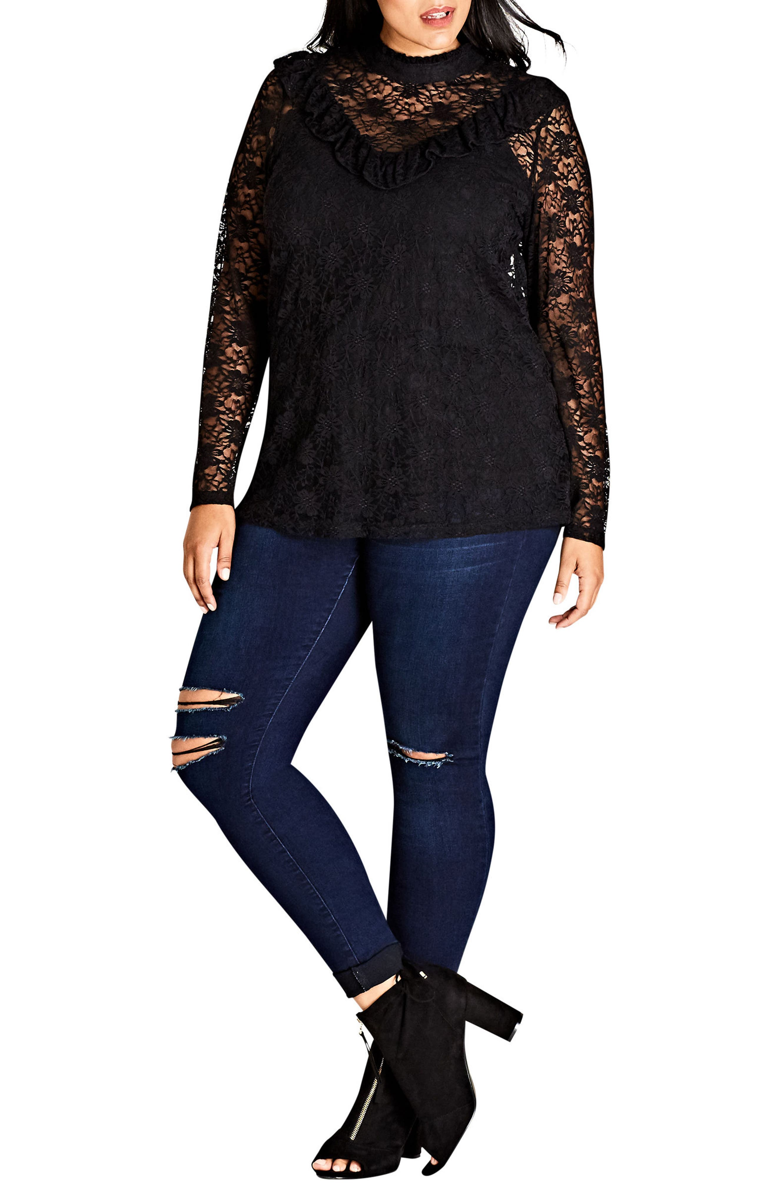Victorian Lace Top,                         Main,                         color, 001