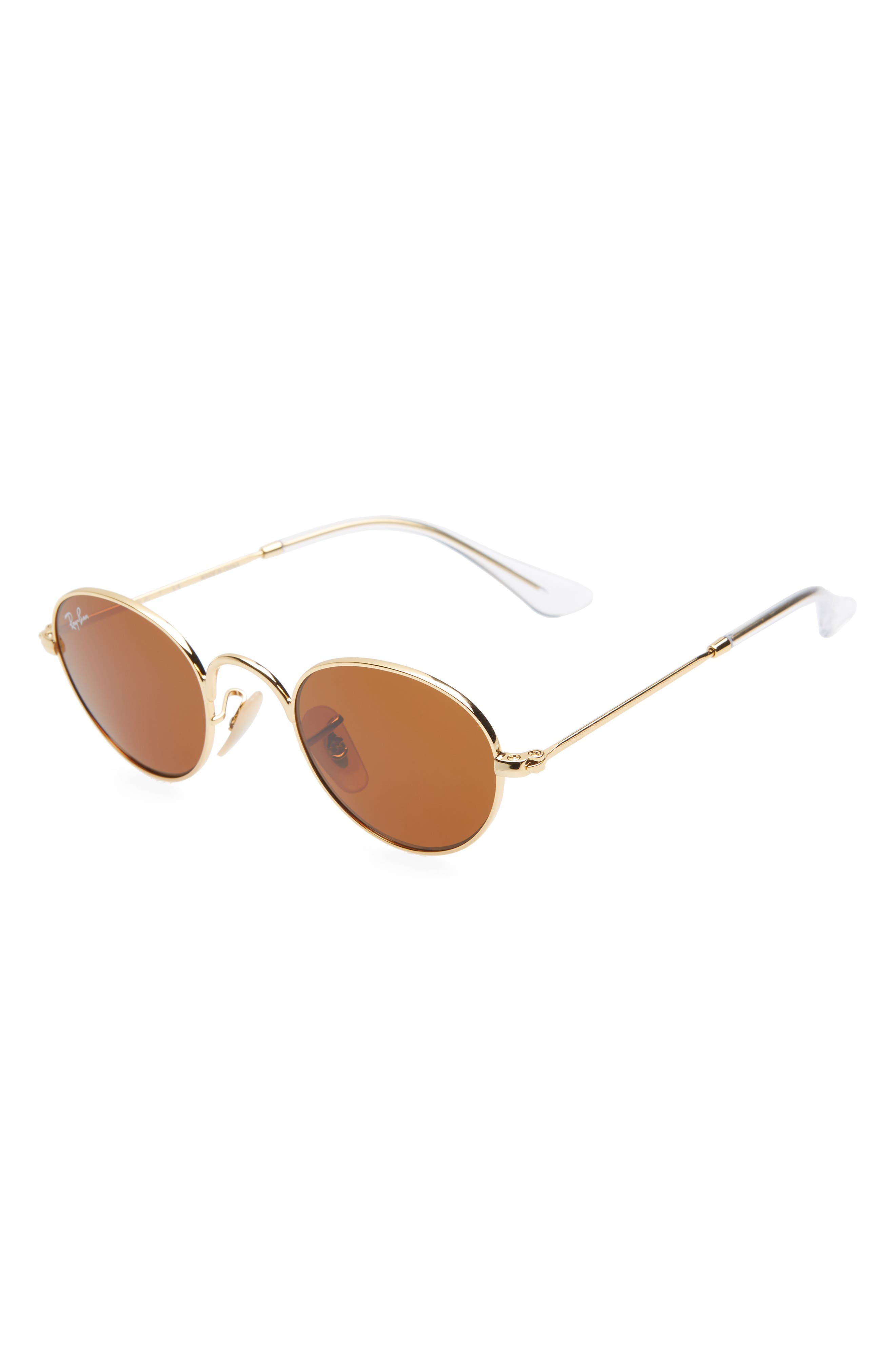 Lennon Junior 40mm Round Sunglasses,                             Main thumbnail 1, color,                             GOLD/ BROWN SOLID