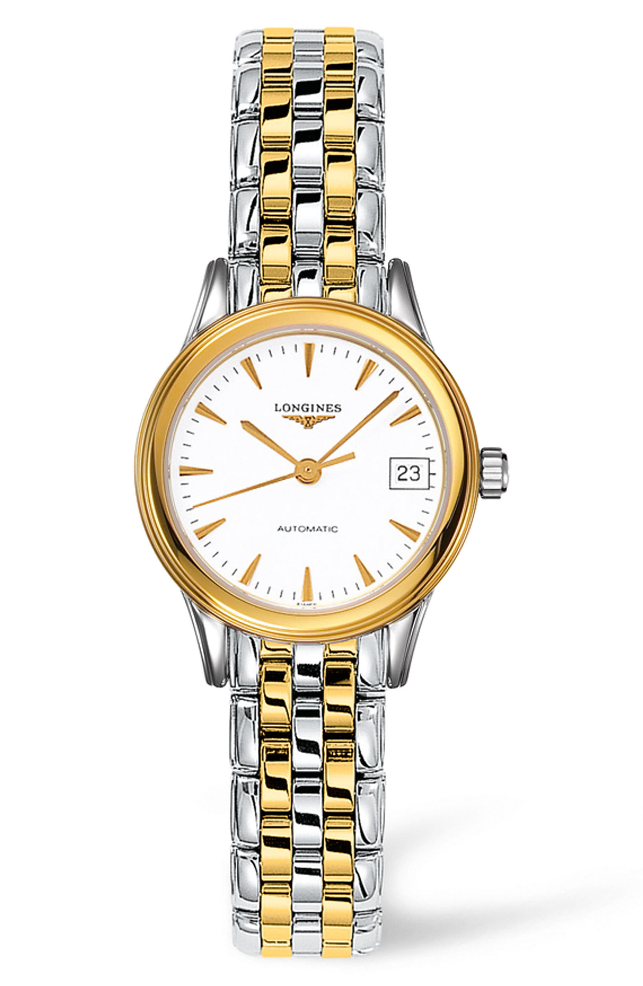 Flagship Automatic Bracelet Watch, 26mm,                             Main thumbnail 1, color,                             SILVER/ WHITE/ GOLD