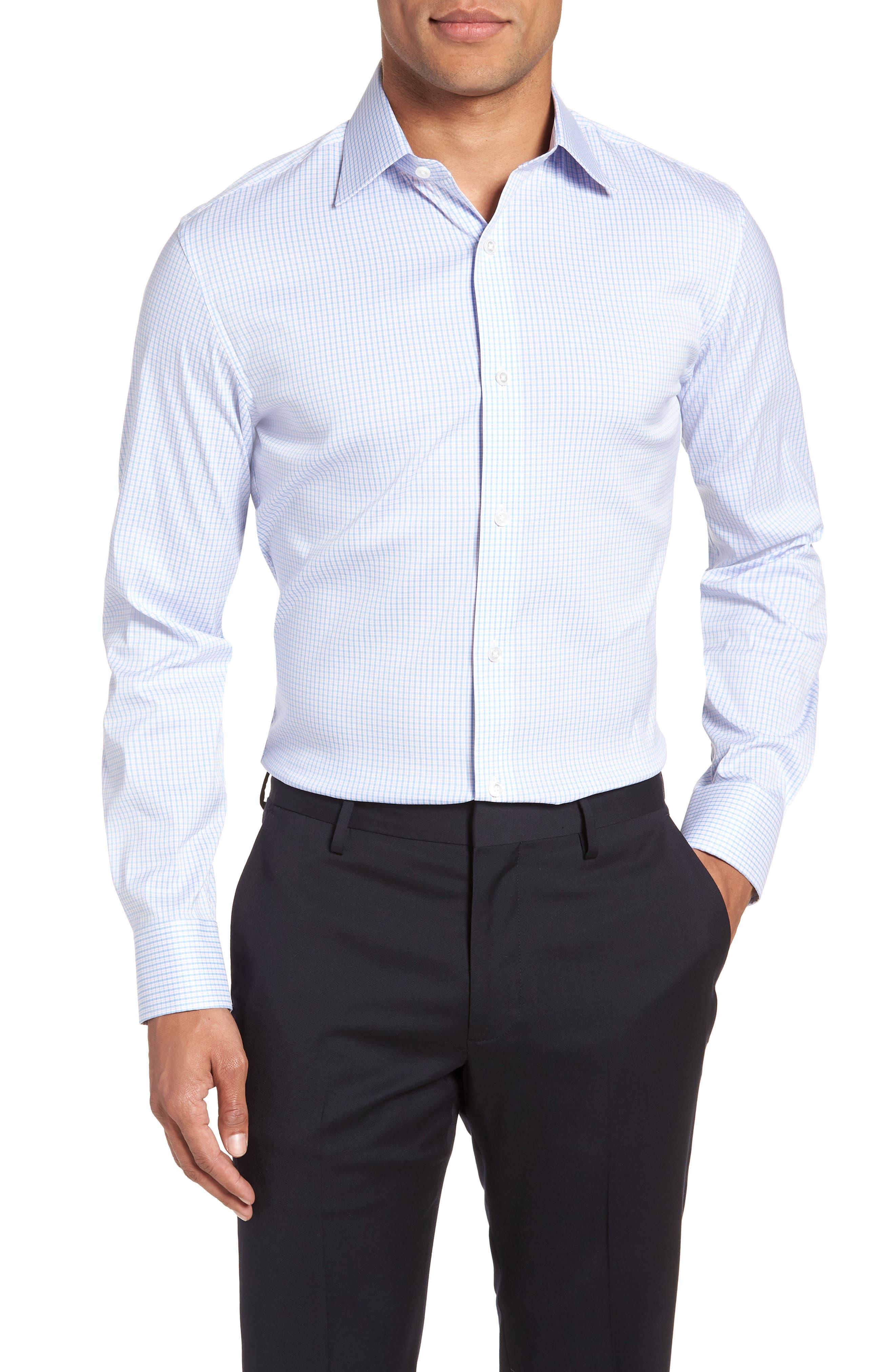 Soundview Slim Fit Stretch Check Dress Shirt,                         Main,                         color, 400