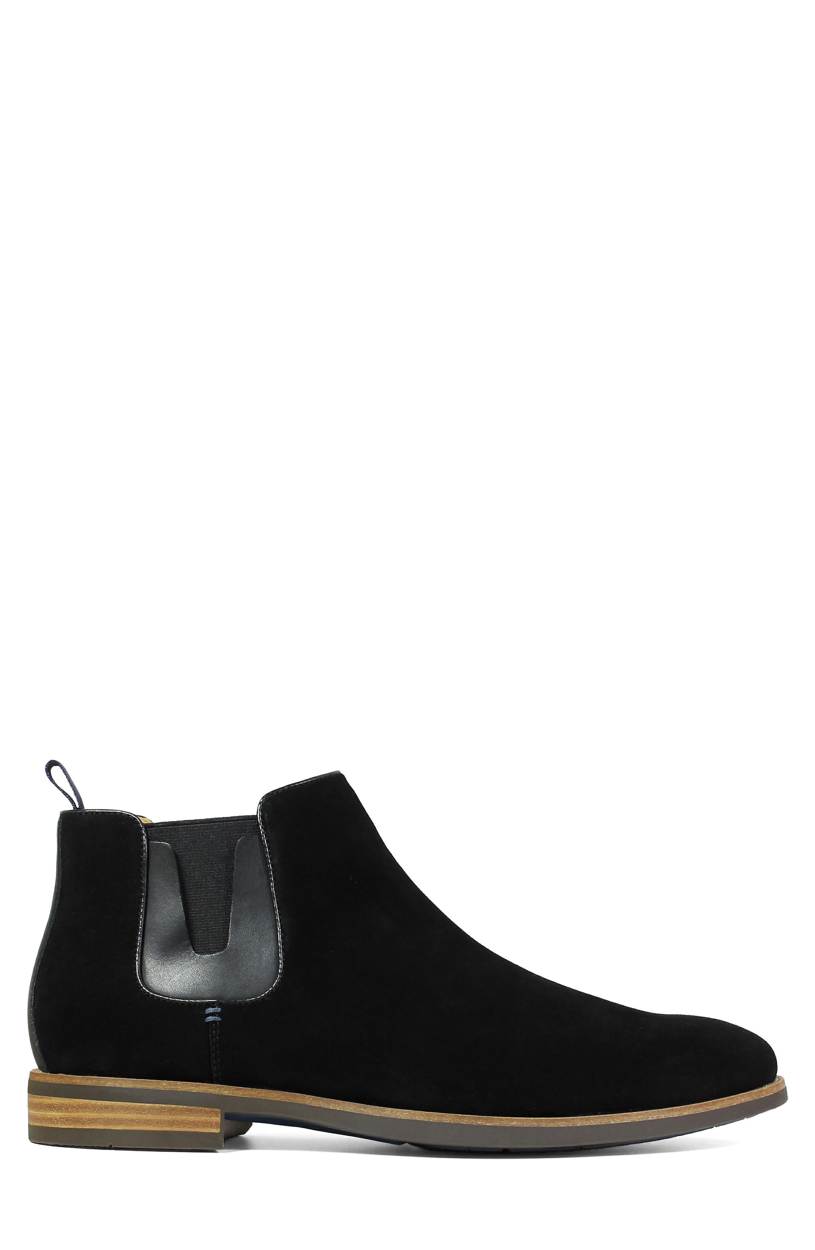 Uptown Plain Toe Mid Chelsea Boot,                             Alternate thumbnail 3, color,                             BLACK SUEDE
