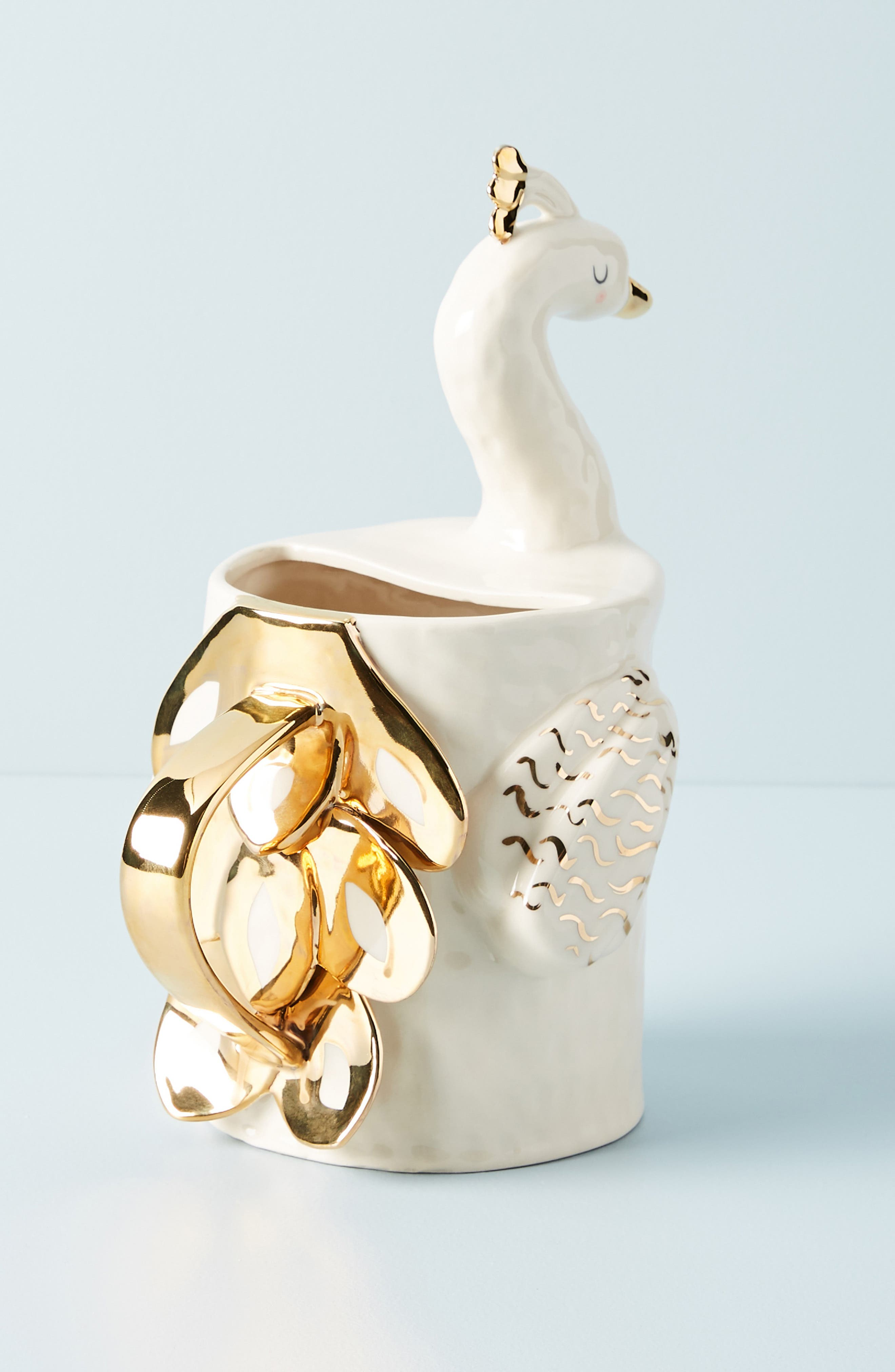 Fauna Fête Peacock Pitcher,                             Alternate thumbnail 2, color,                             WHITE/ GOLD