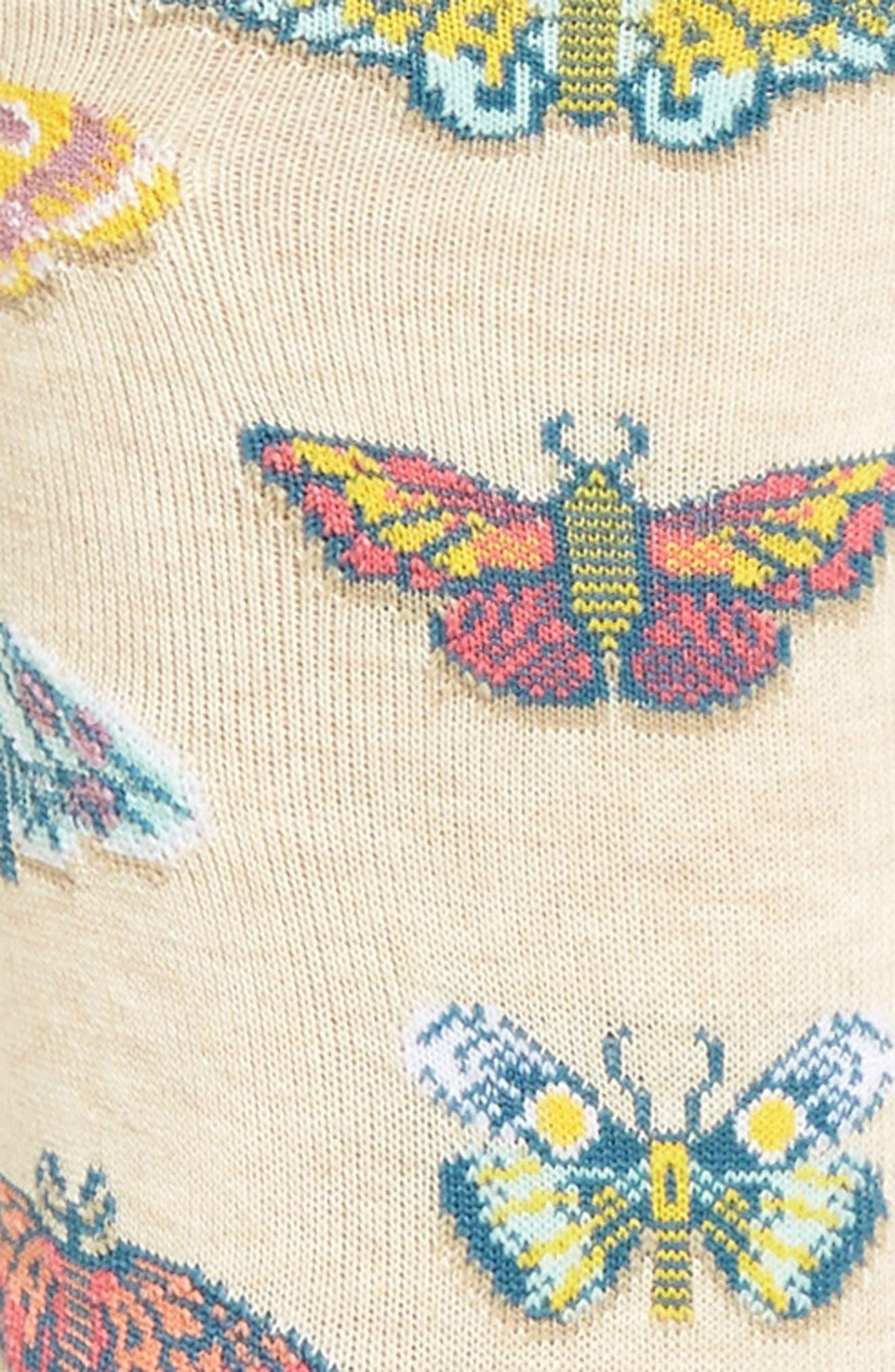 Butterflies Crew Socks,                             Alternate thumbnail 3, color,                             257