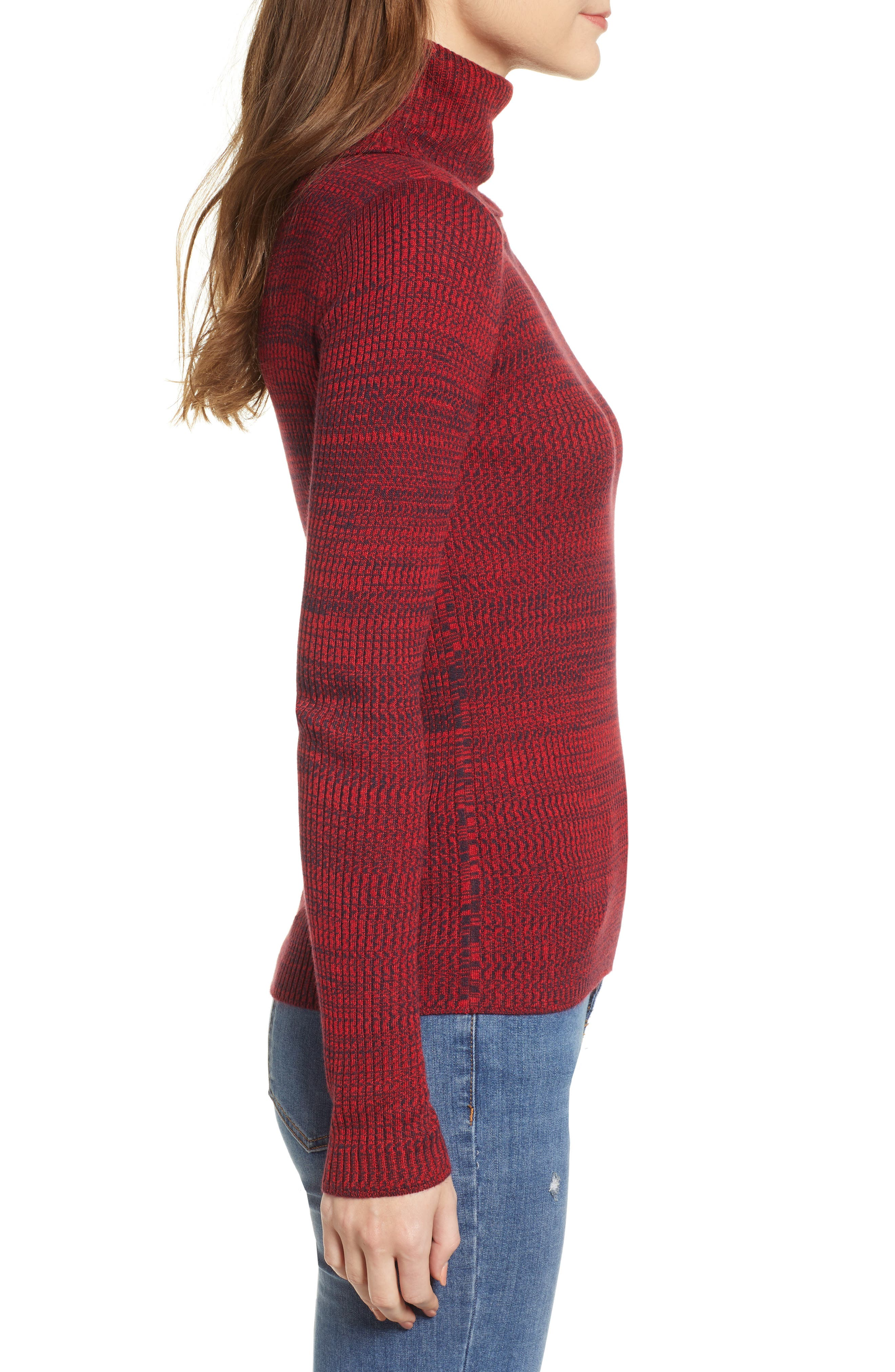 Space Dye Turtleneck Sweater,                             Alternate thumbnail 3, color,                             RED CHINOISE COMBO
