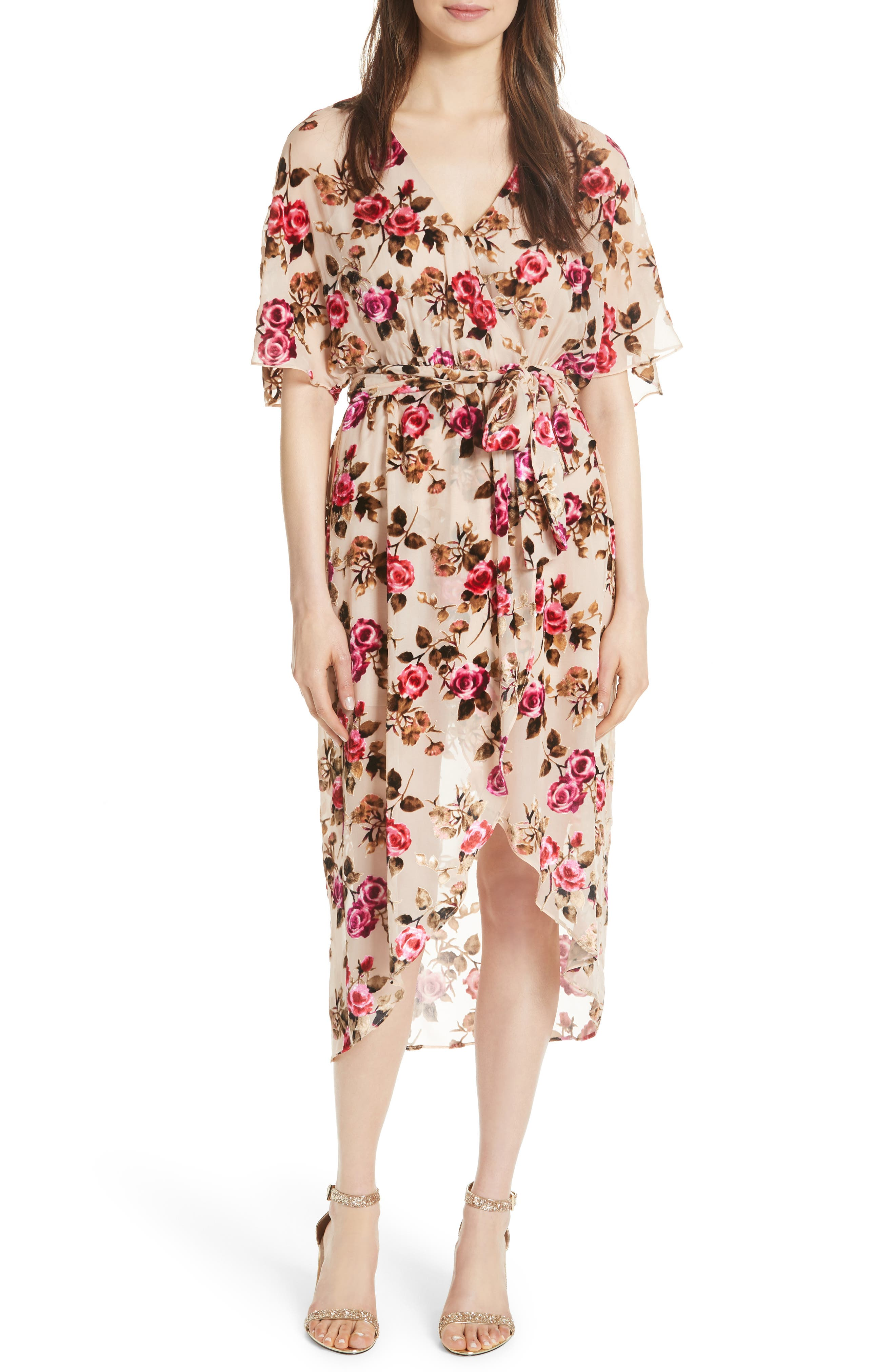 ALICE + OLIVIA,                             Clarine Floral Faux Wrap Dress,                             Main thumbnail 1, color,                             251