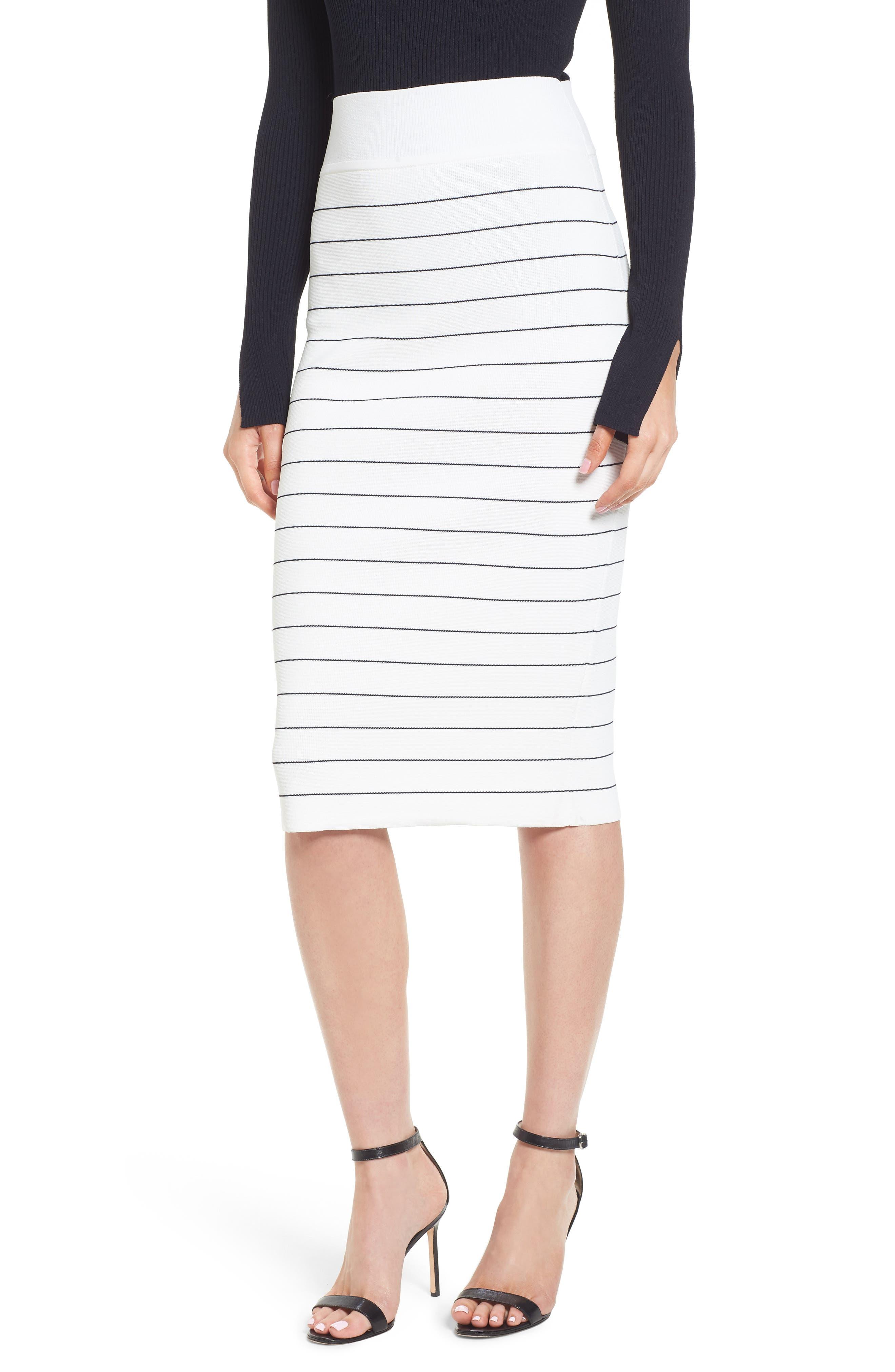 Fairuza Stripe Knit Pencil Skirt,                             Main thumbnail 1, color,                             170