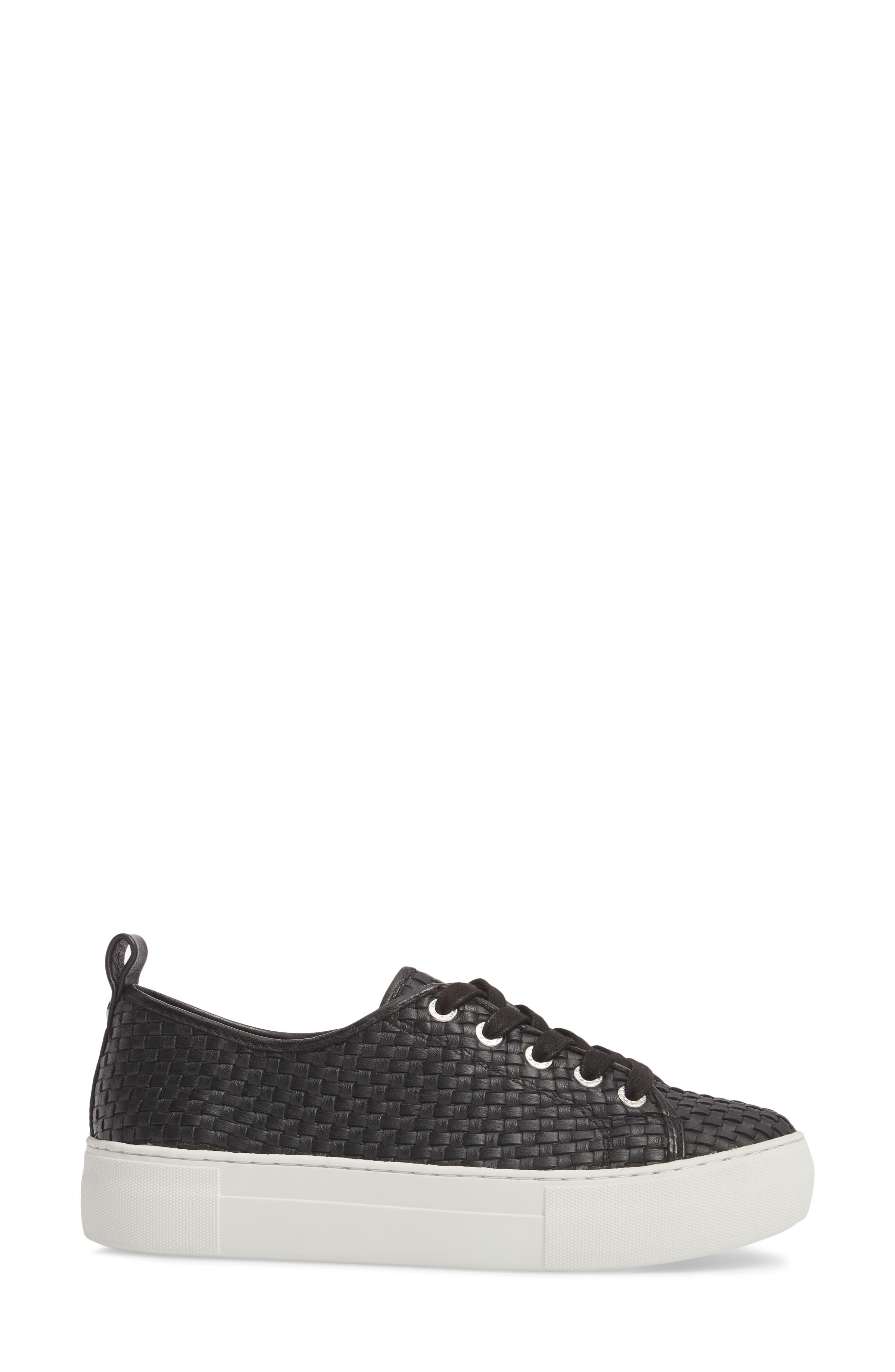 Artsy Woven Platform Sneaker,                             Alternate thumbnail 3, color,                             BLACK LEATHER