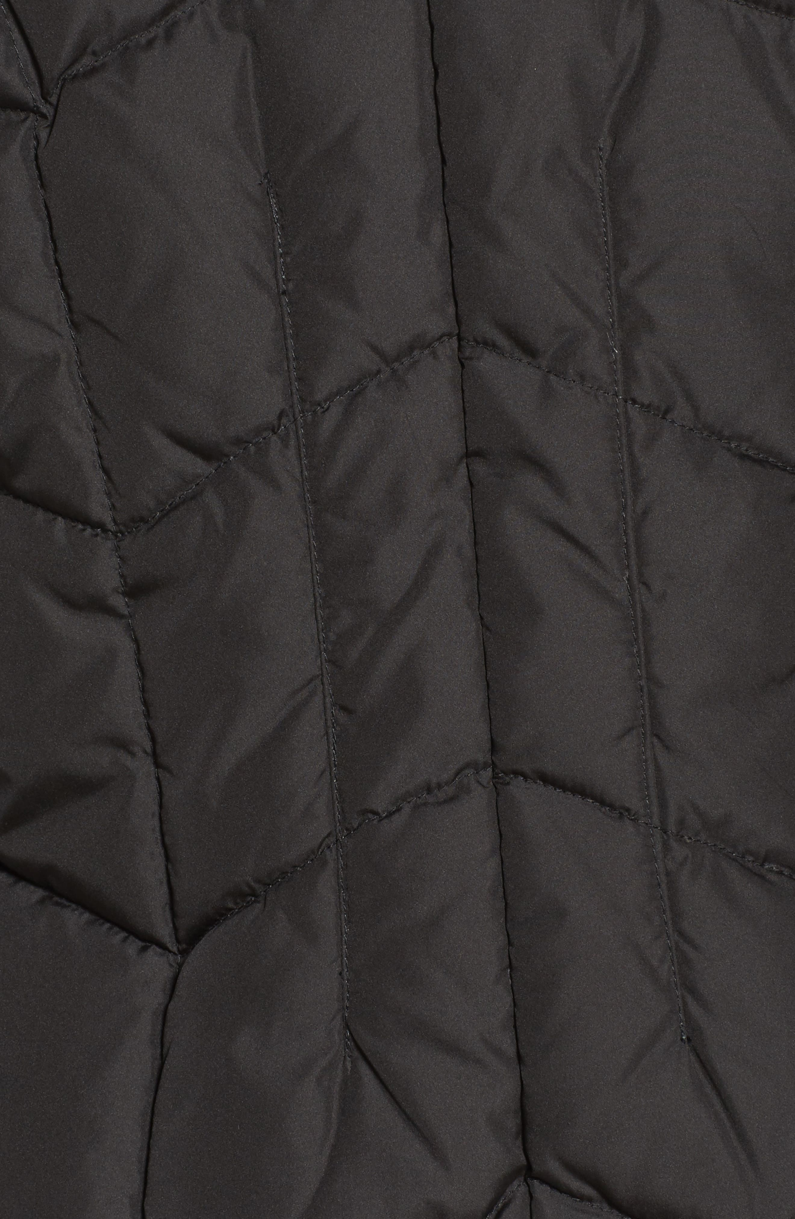 Quilted Coat with Faux Fur Trim,                             Alternate thumbnail 6, color,                             001