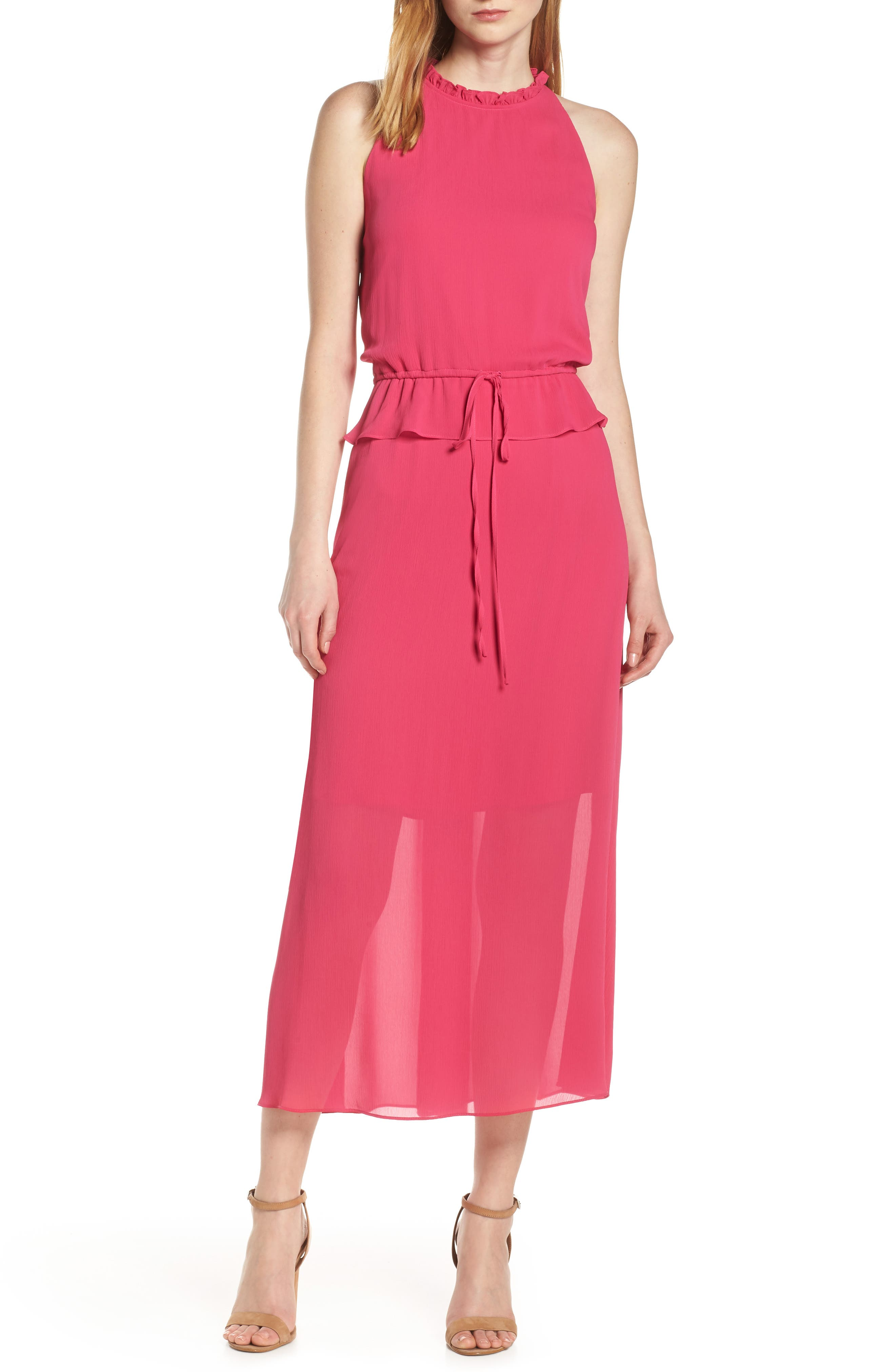 Sam Edelman High Neck Maxi Dress, Pink