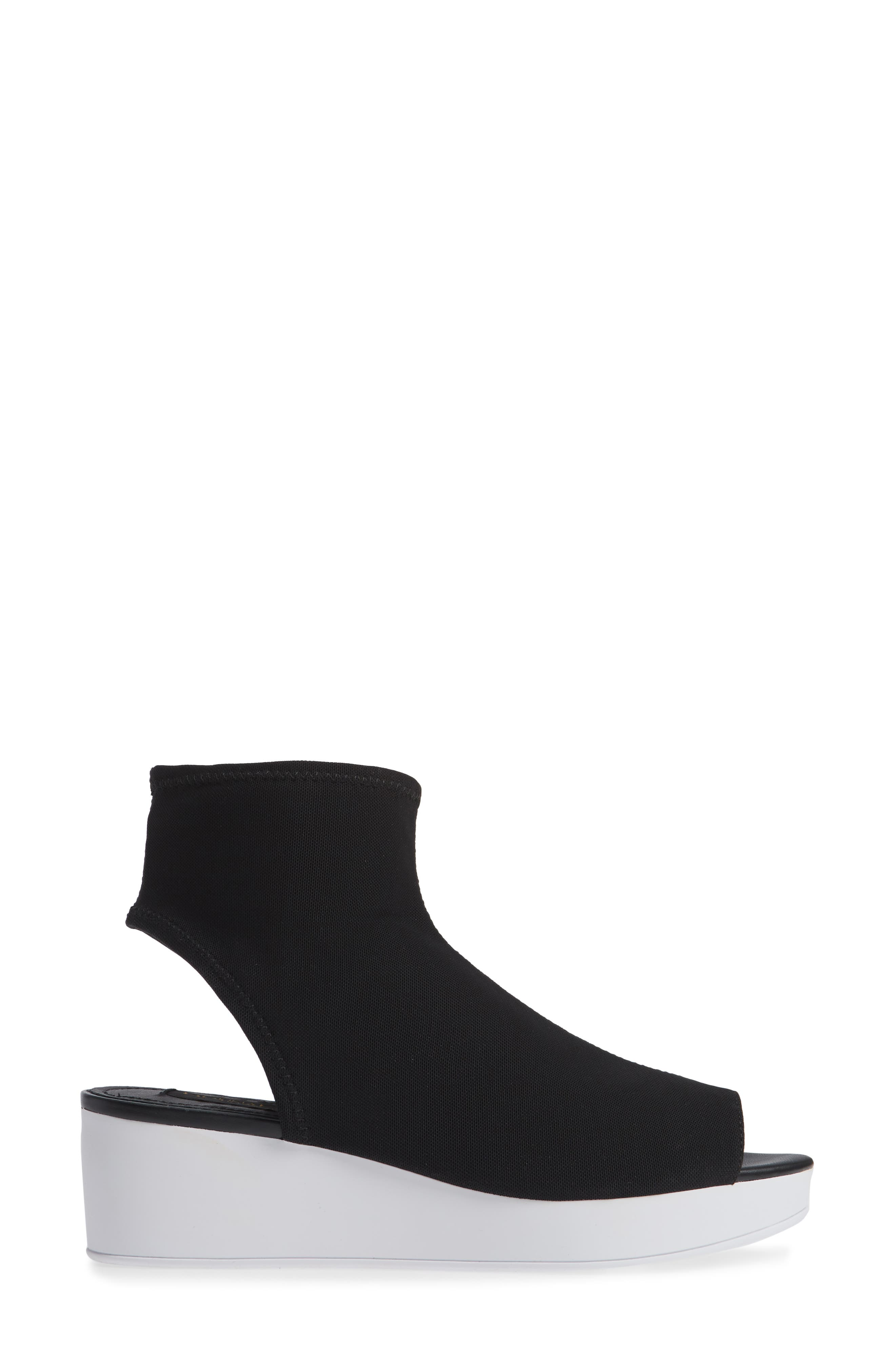 Donna Karan Rivera Mid-Wedge Sandal,                             Alternate thumbnail 3, color,                             BLACK STRETCH FLY KNIT