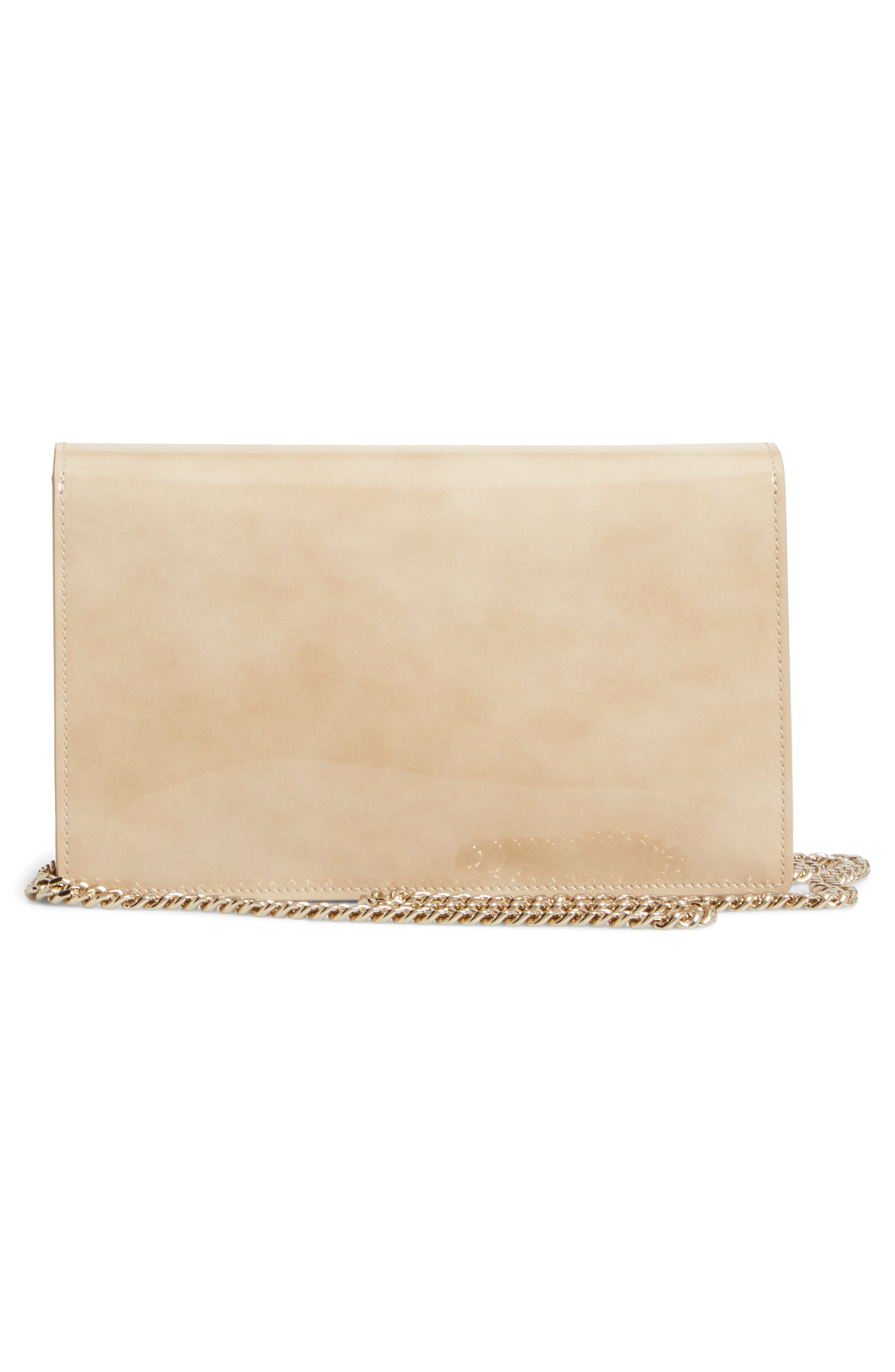Florence Patent Leather & Suede Clutch,                             Alternate thumbnail 3, color,                             NUDE