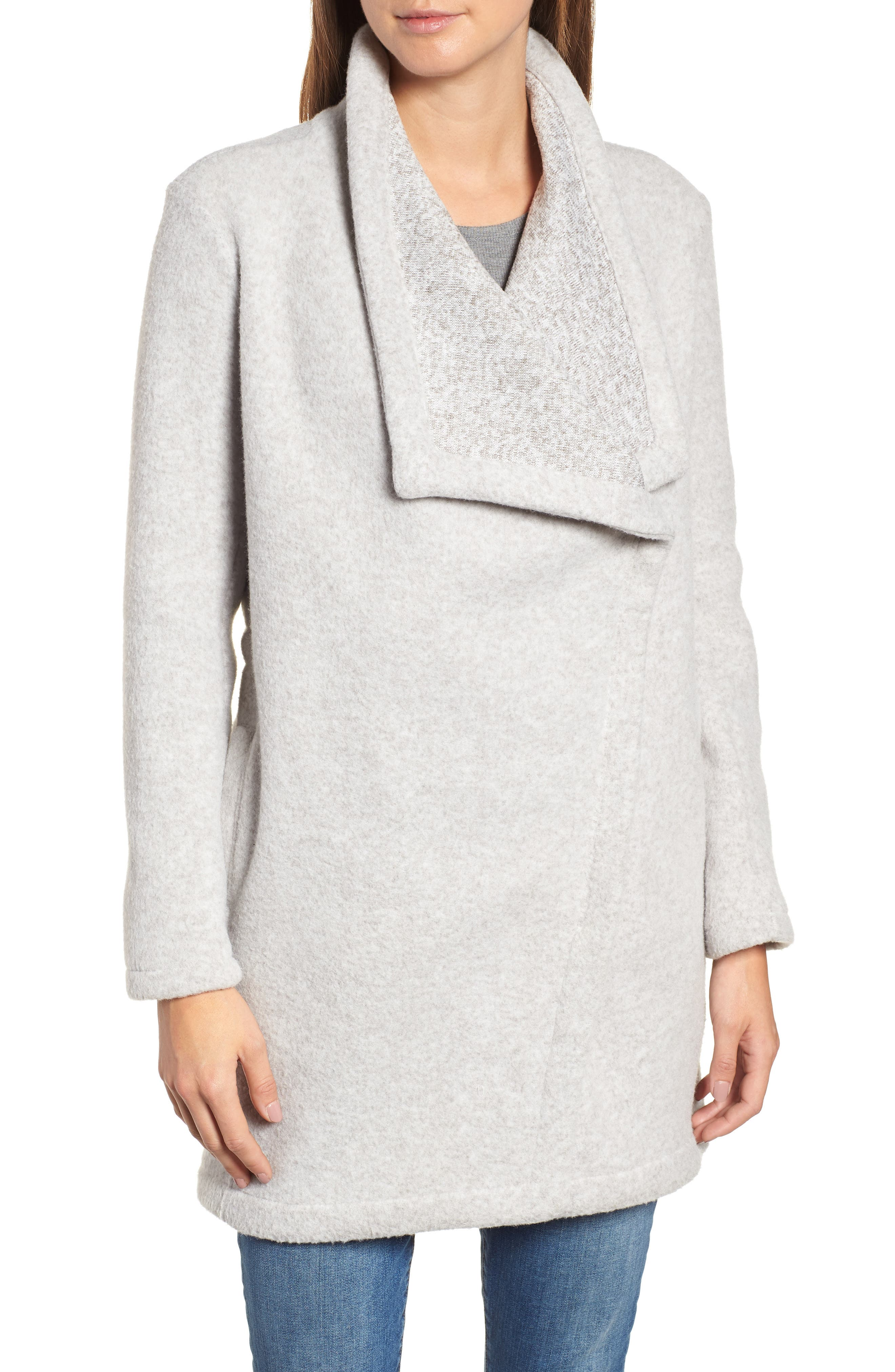 Maggie Brushed Fleece Drape Collar Coat,                             Alternate thumbnail 4, color,                             LIGHT HEATHER GREY
