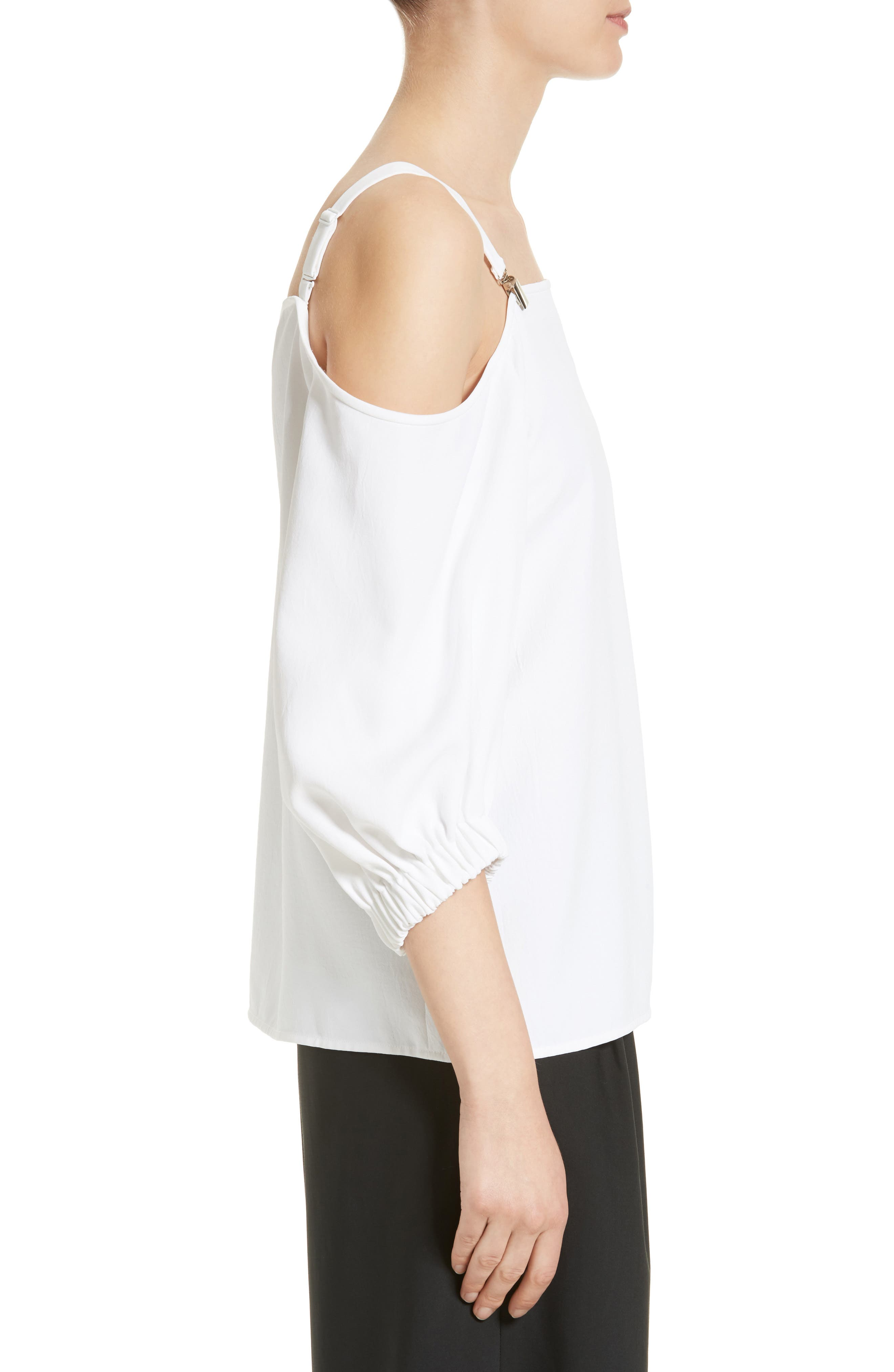 Drape Twill Off the Shoulder Top,                             Alternate thumbnail 3, color,                             100