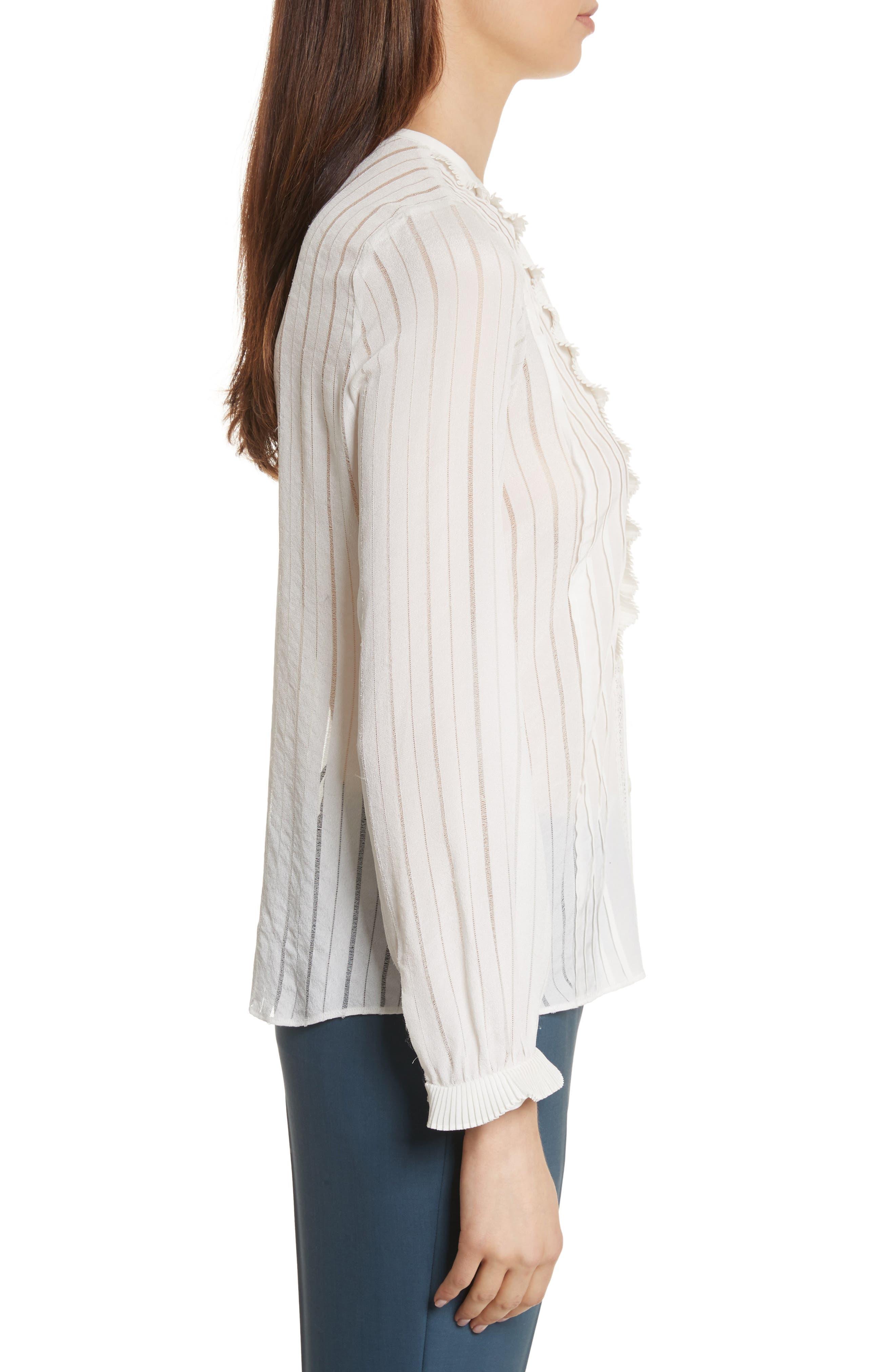 Silk & Lace Long Sleeve Blouse,                             Alternate thumbnail 3, color,                             178