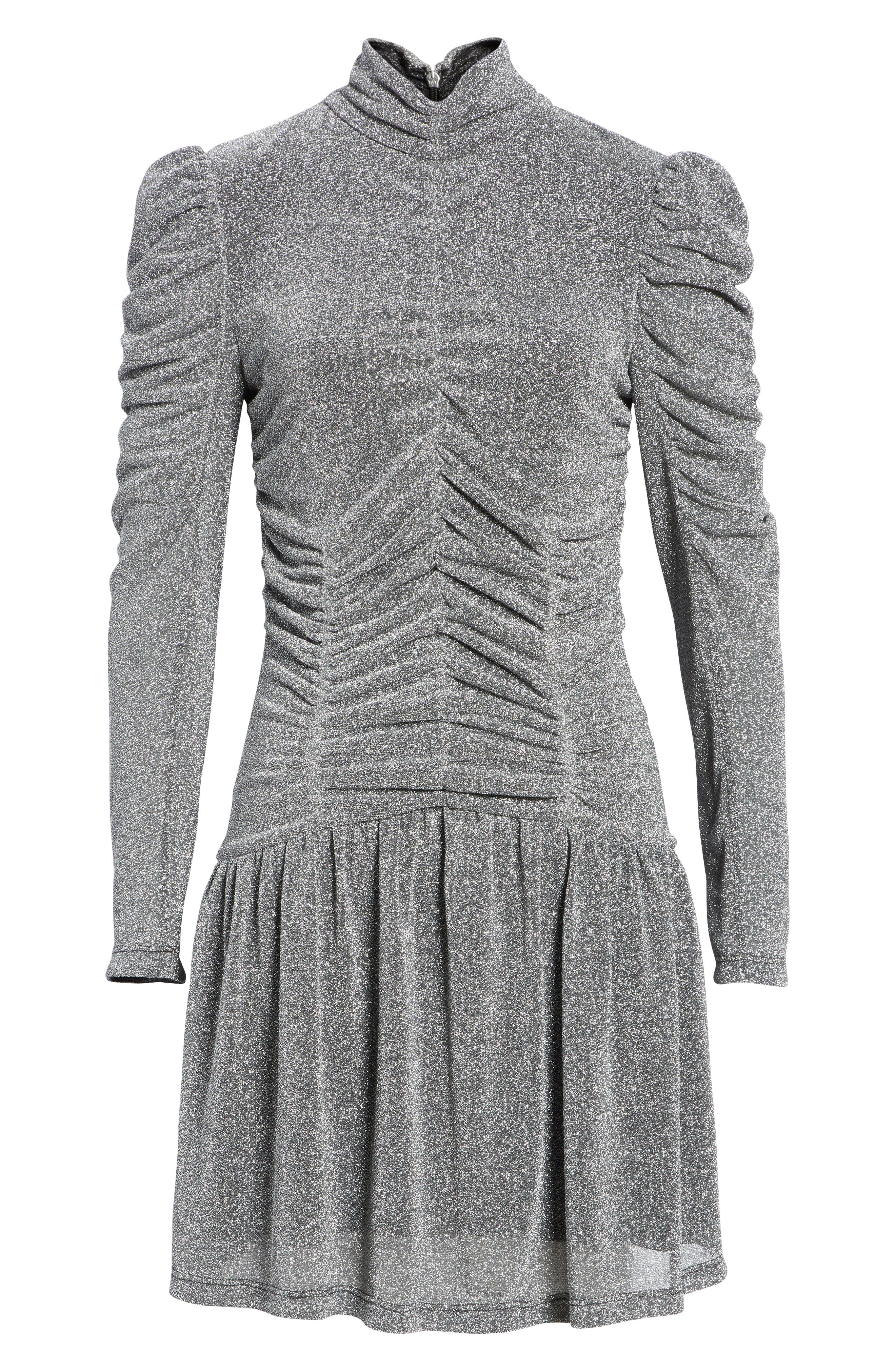 REBECCA TAYLOR,                             Gathered Metallic Jersey Dress,                             Alternate thumbnail 6, color,                             043
