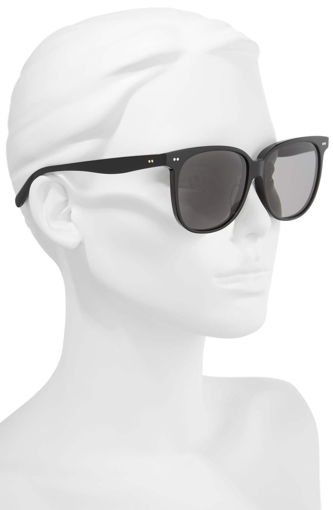 Special Fit 58mm Square Sunglasses,                             Alternate thumbnail 2, color,                             BLACK/ SMOKE