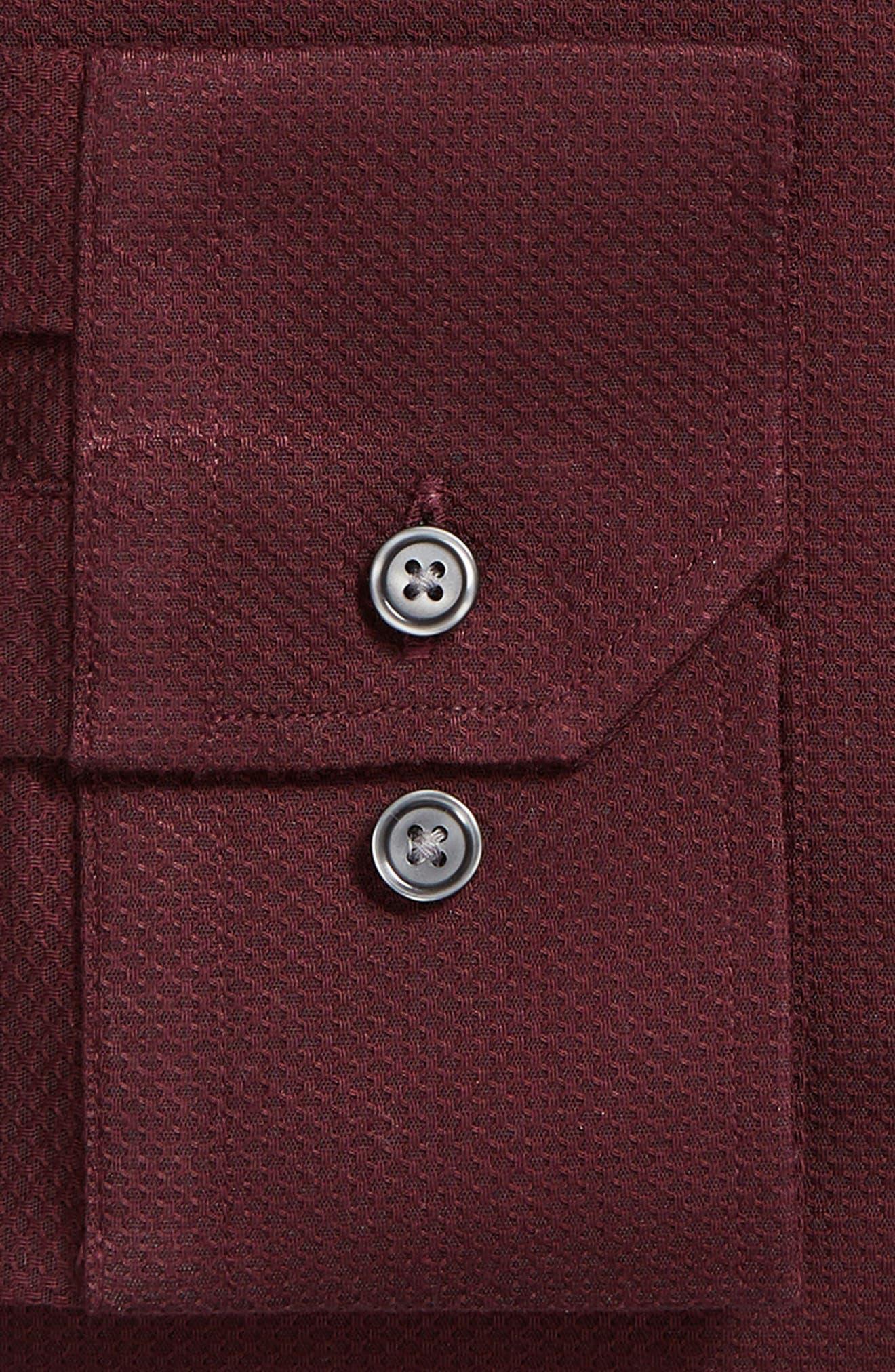 Trim Fit Non-Iron Solid Dress Shirt,                             Alternate thumbnail 6, color,                             BURGUNDY ROYALE