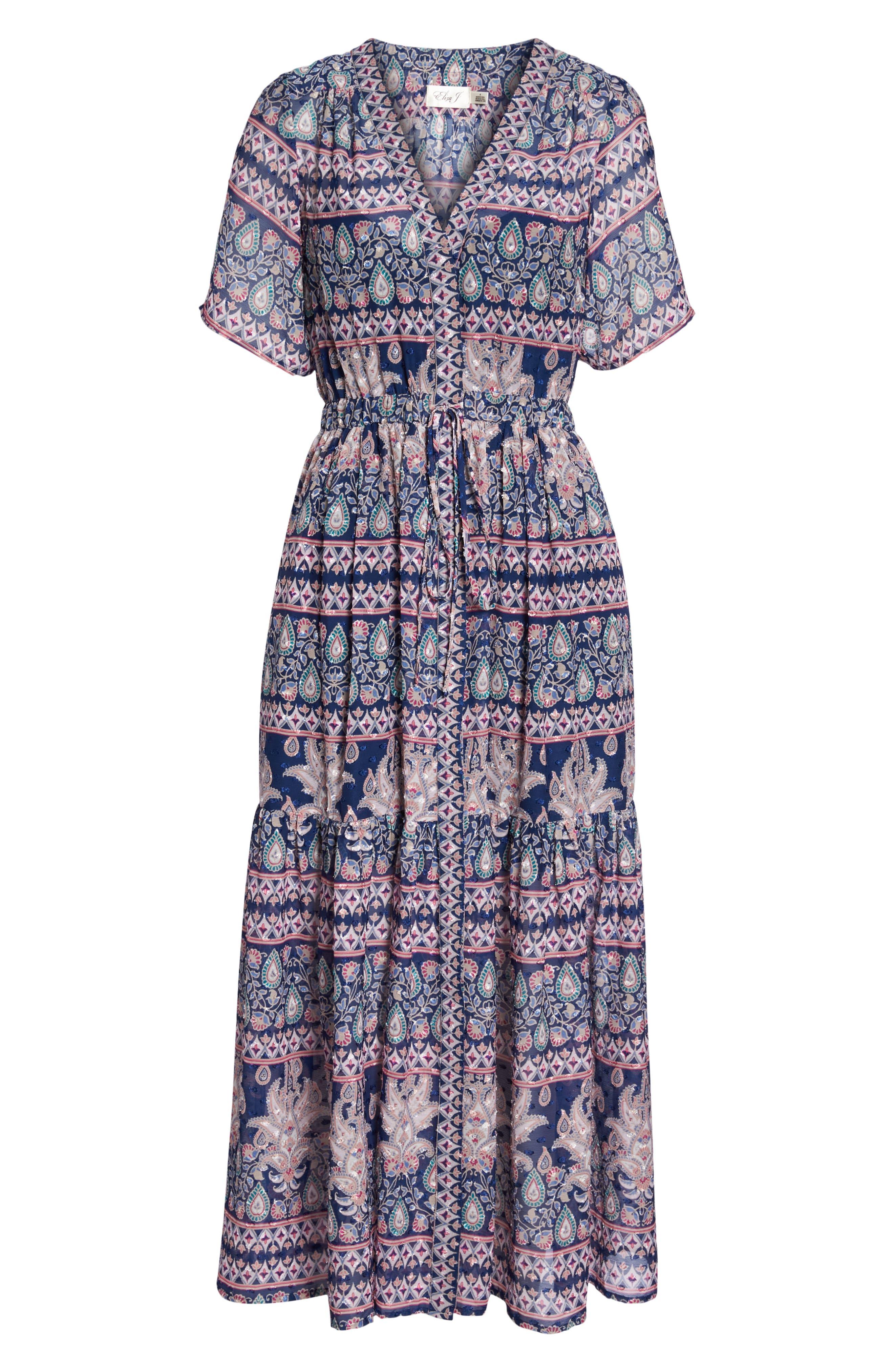 Print V-Neck Fil Coupé Dress,                             Alternate thumbnail 7, color,                             410