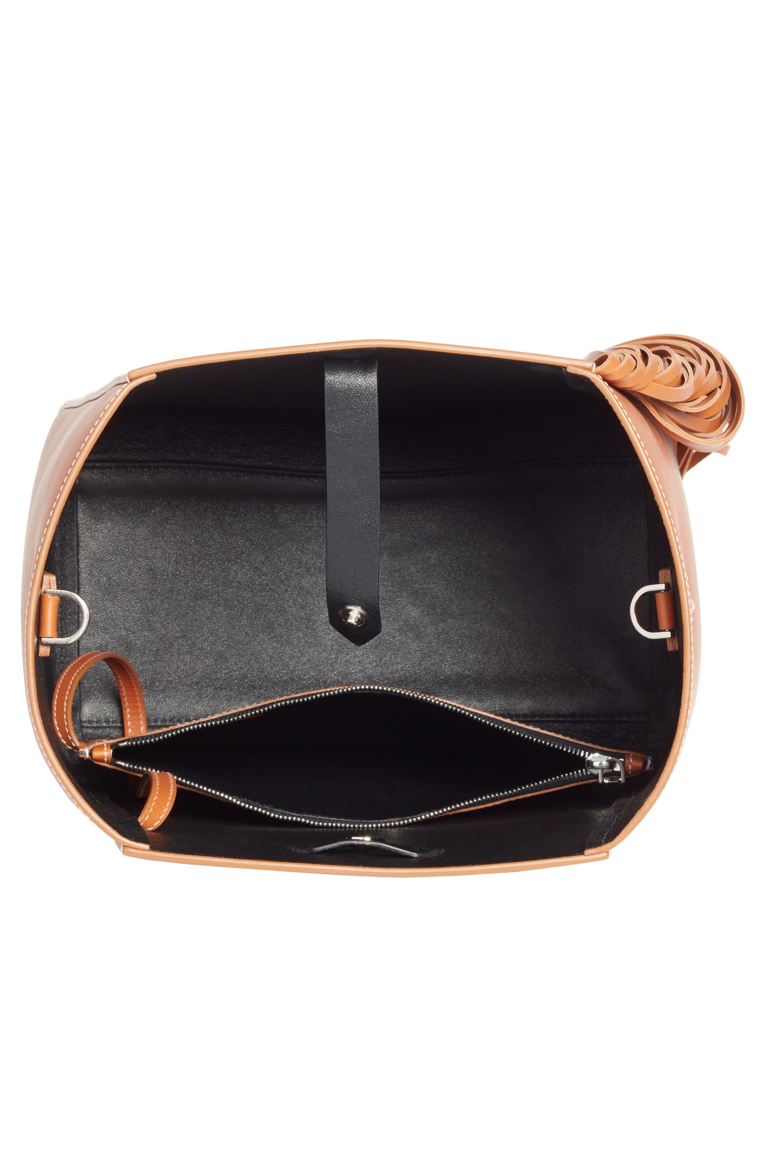 Fringe Leather Bucket Bag,                             Alternate thumbnail 3, color,                             COGNAC