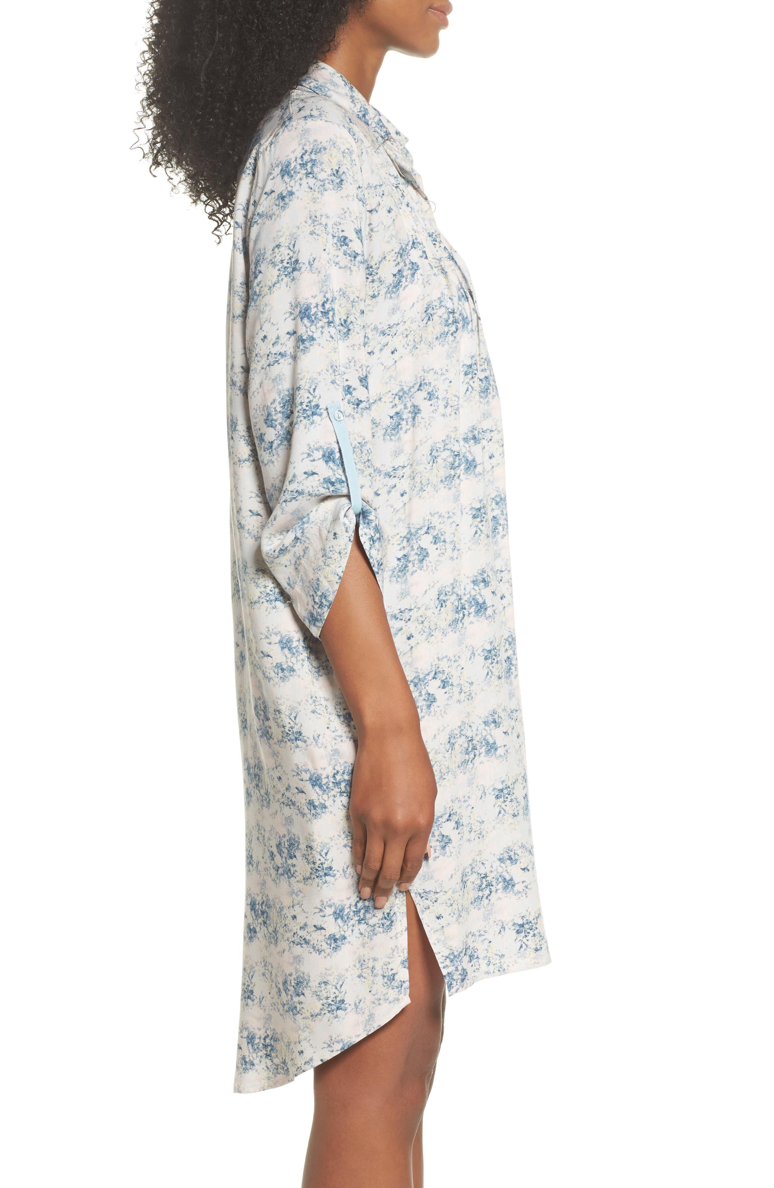 Floral Print Sleep Shirt,                             Alternate thumbnail 3, color,                             403