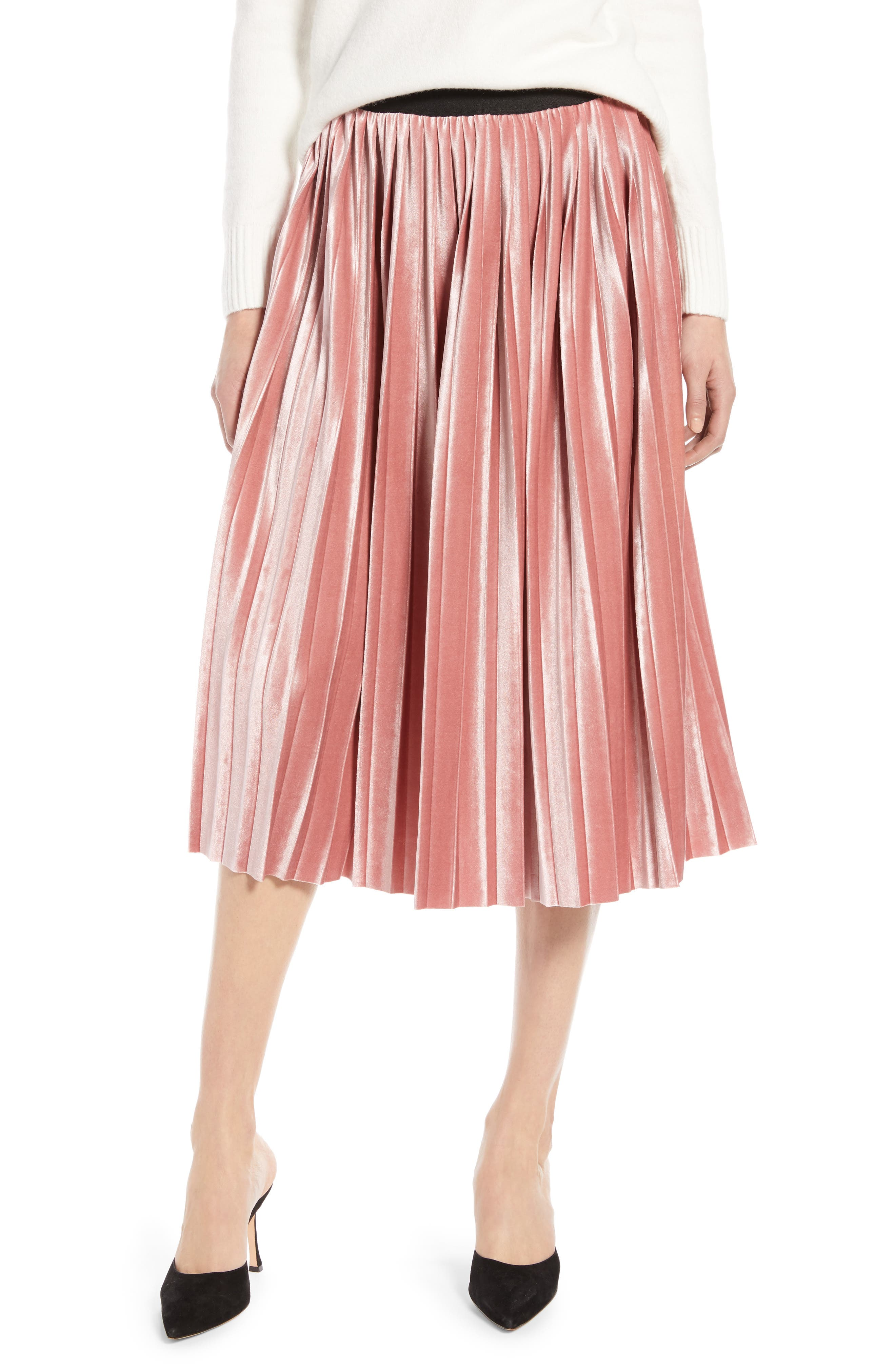 Velvet Pleated Midi Skirt,                             Main thumbnail 1, color,                             PINK MESA