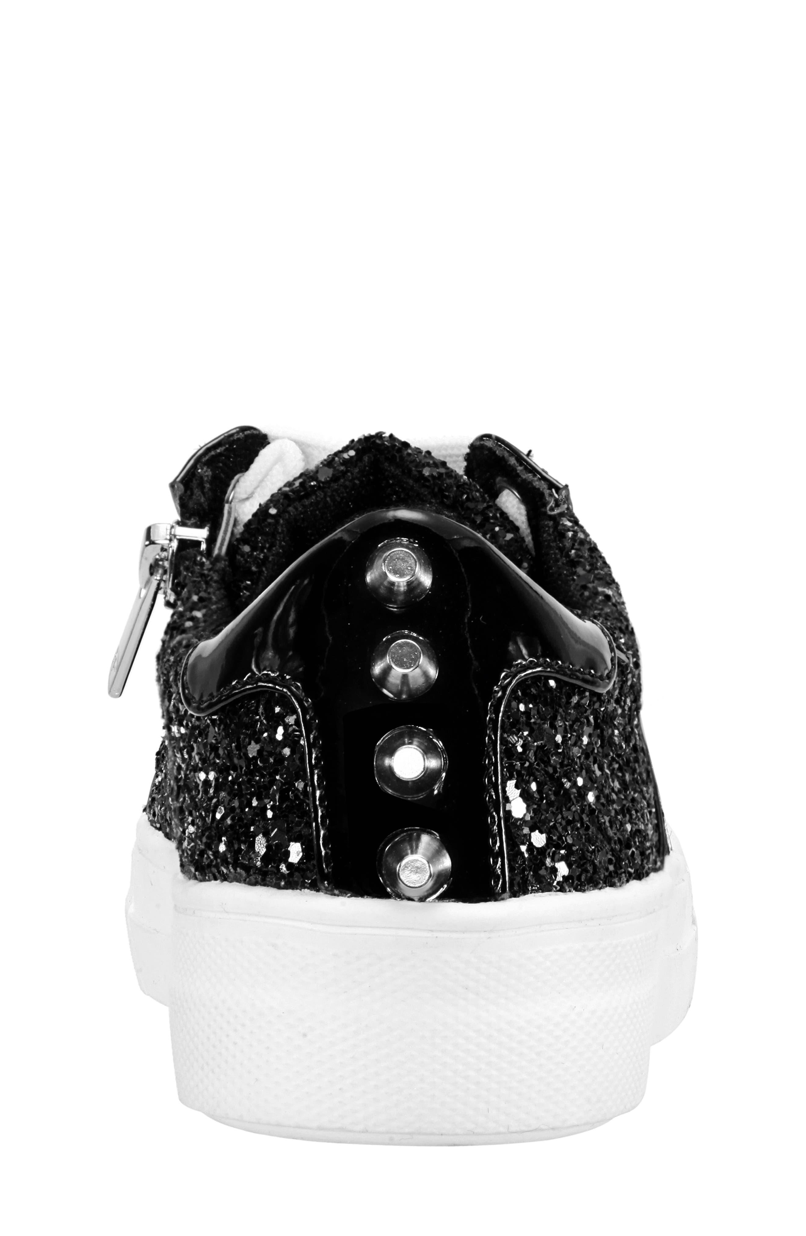 Hazeline-N Glitter Sneaker,                             Alternate thumbnail 7, color,                             BLACK CHUNKY GLITTER