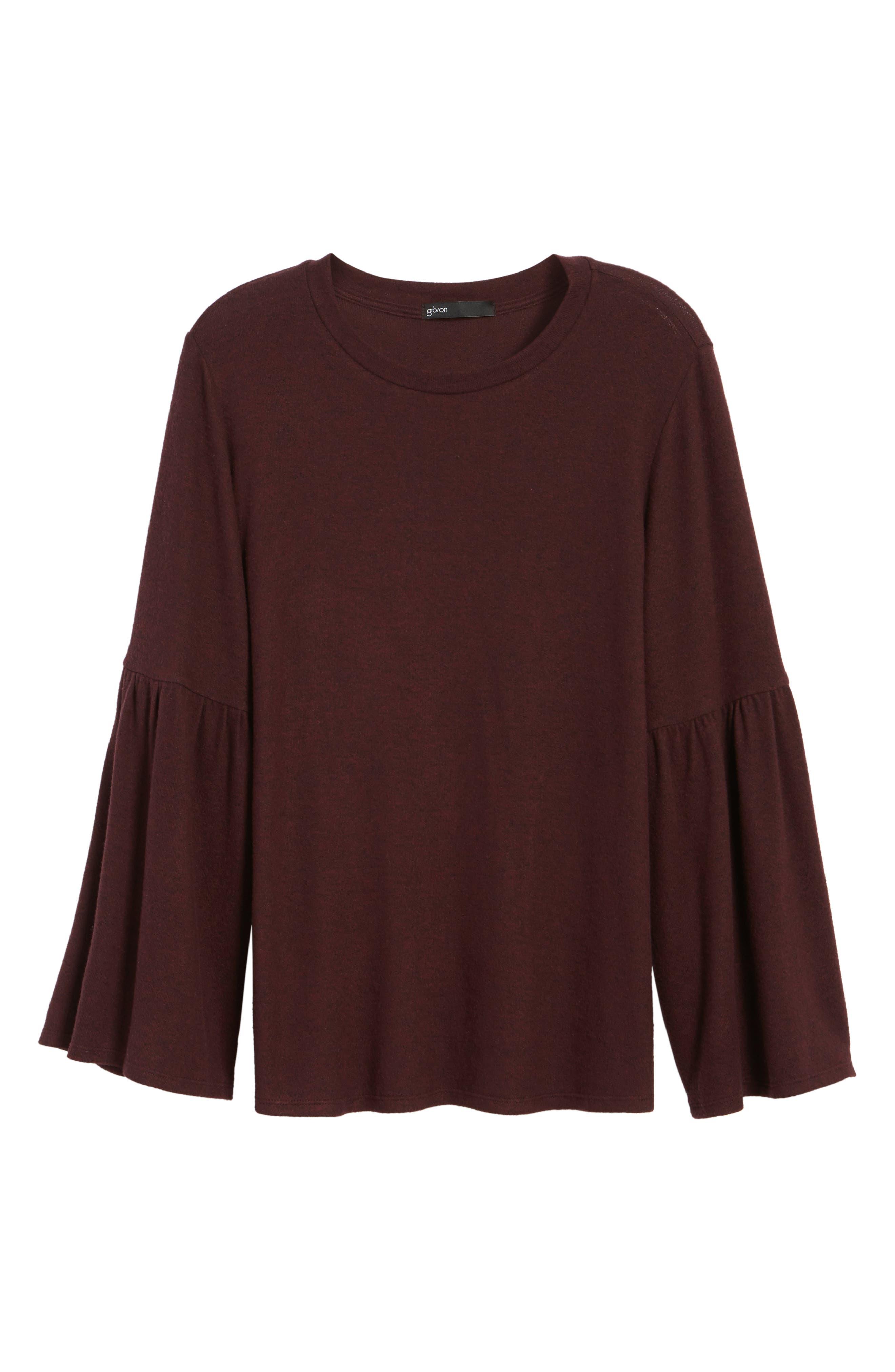 Bell Sleeve Cozy Fleece Pullover,                             Alternate thumbnail 72, color,