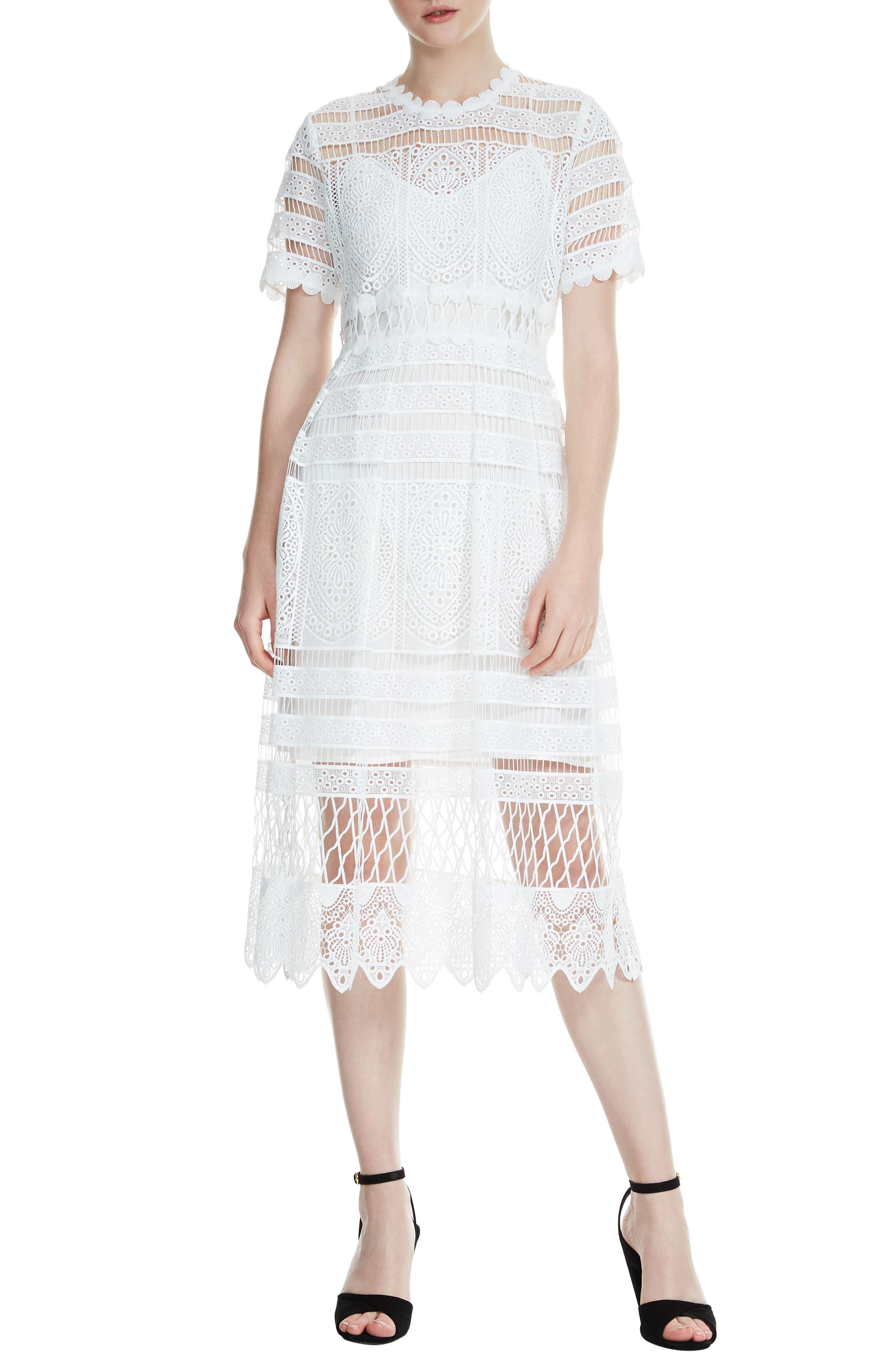 Roseray Lace Midi Dress,                         Main,                         color, 100