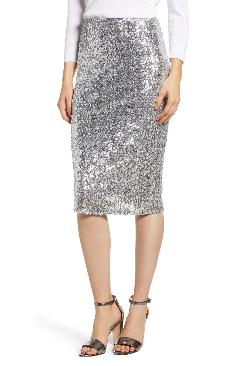 Sequin Pencil Skirt,                         Main,                         color, SILVER