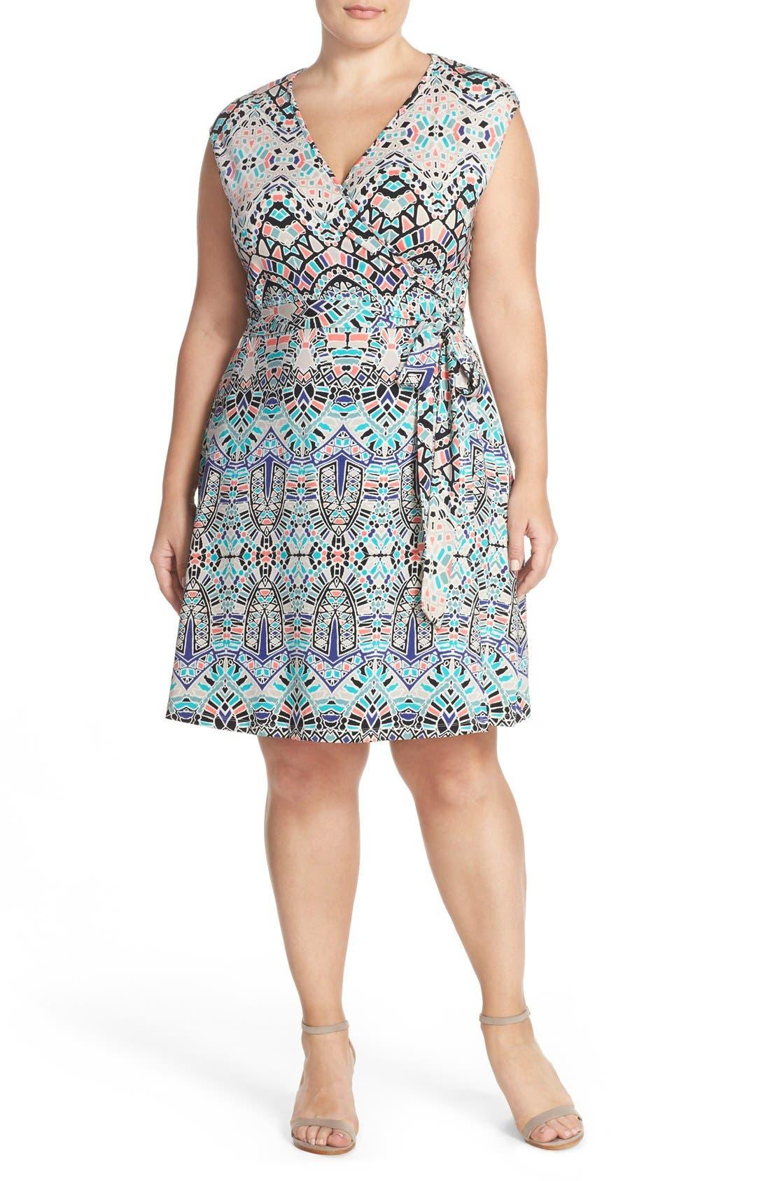 plus size women's tart 'charmaine' print strappy wrap dress, size 2x - blue