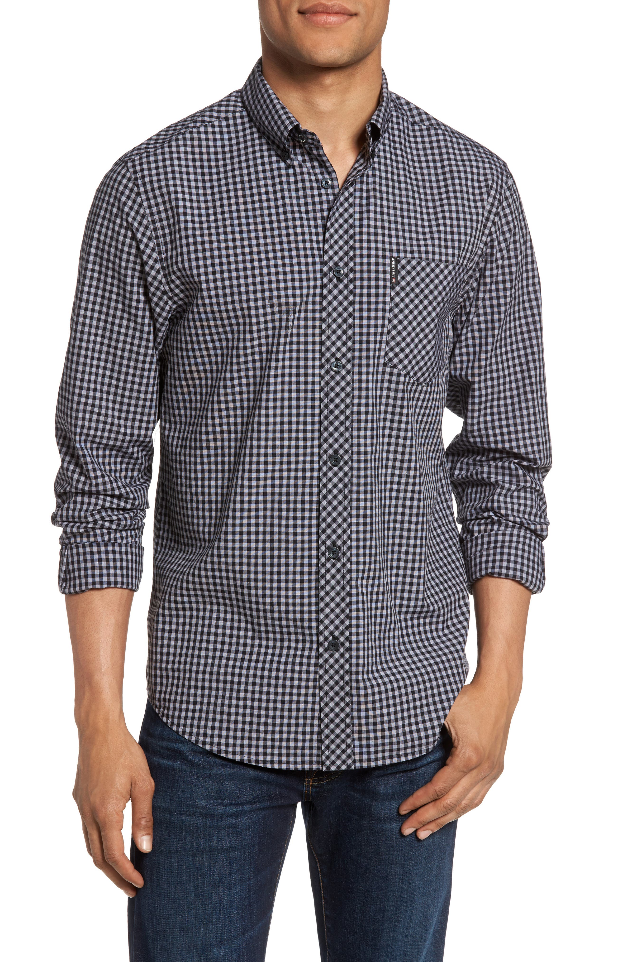 Ben Sherman Mod Fit Gingham Sport Shirt, Grey