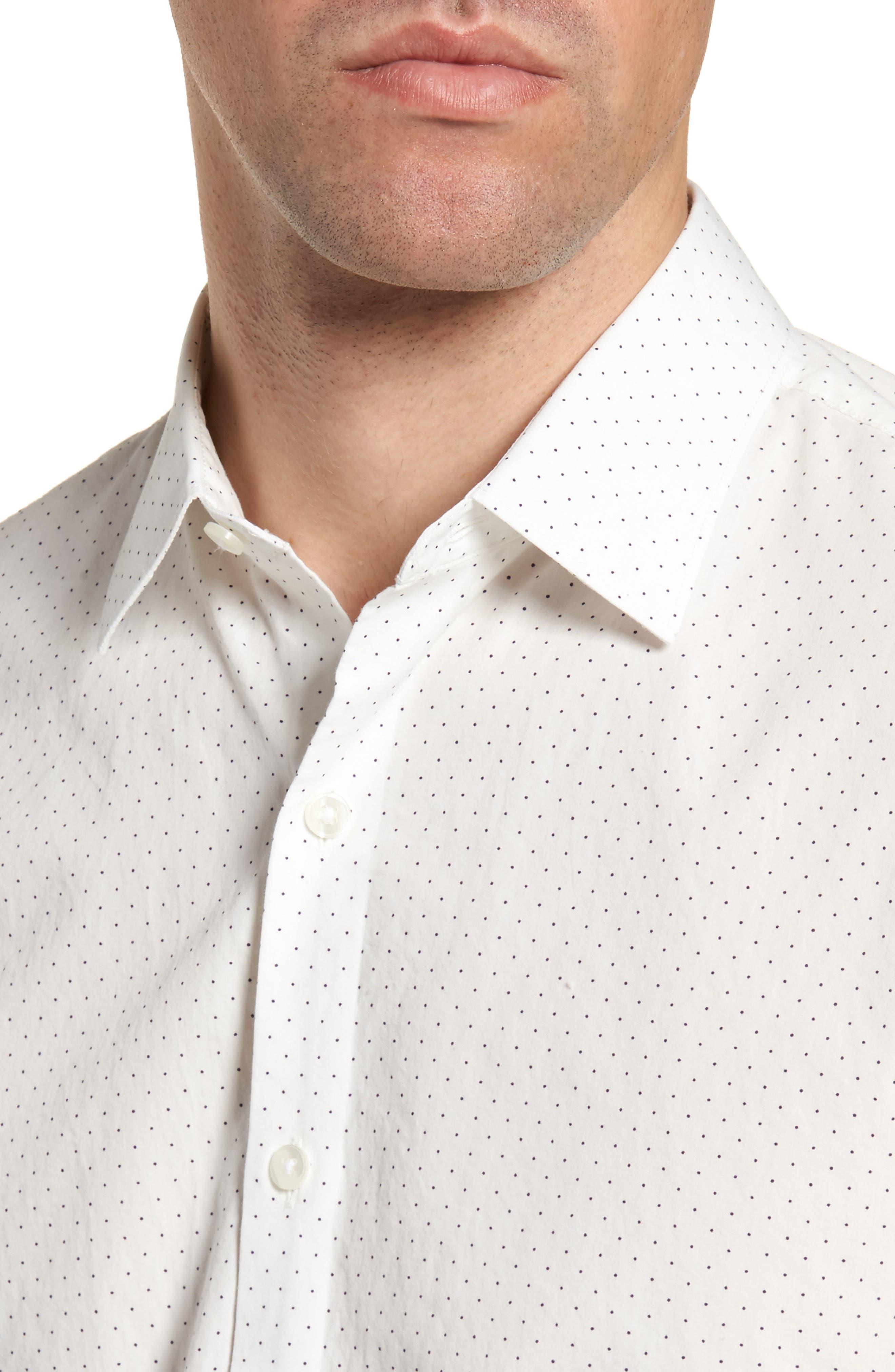 Unbutton Down 2.0 Slim Fit Dot Sport Shirt,                             Alternate thumbnail 4, color,                             100