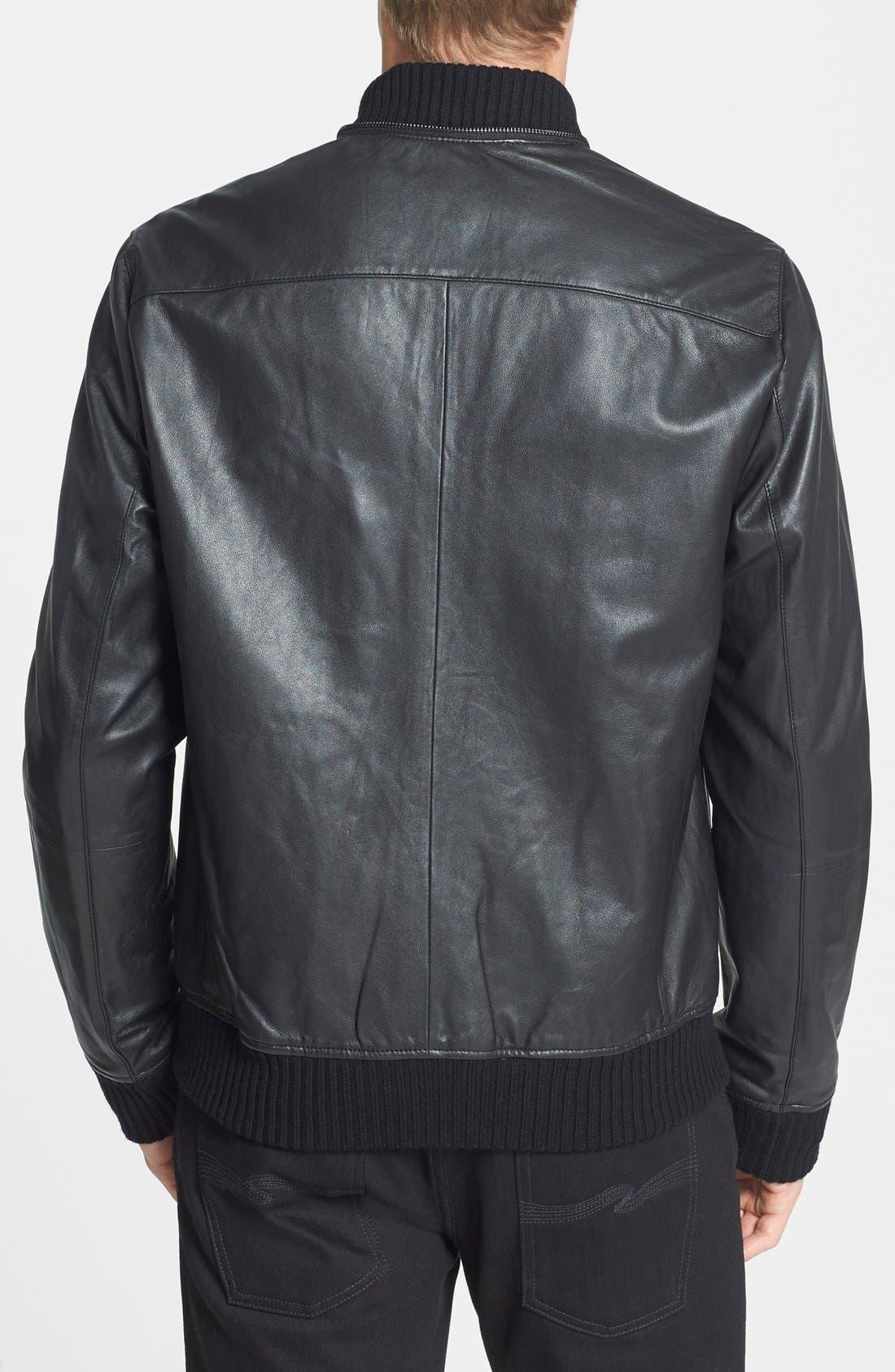 Hooded Leather Bomber Jacket,                             Alternate thumbnail 5, color,                             001