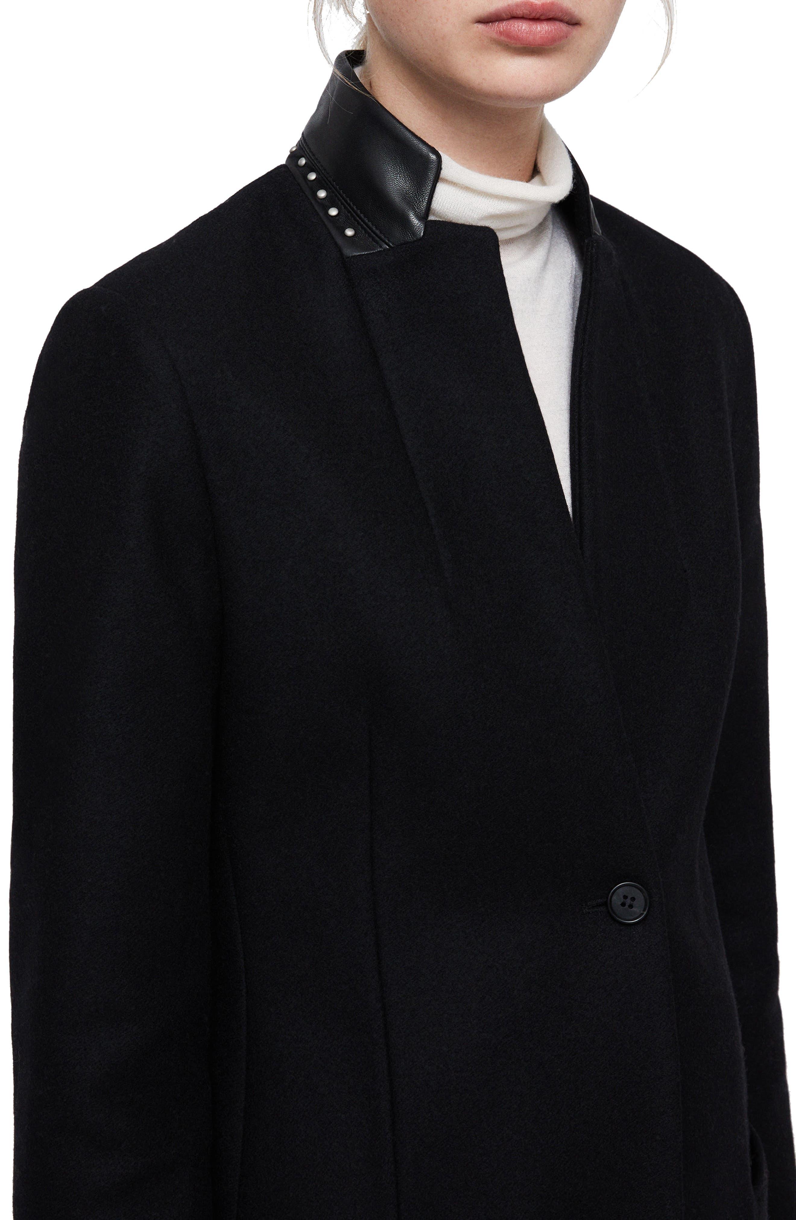 Leni Stud Trim Leather Collar Coat,                             Alternate thumbnail 4, color,                             BLACK