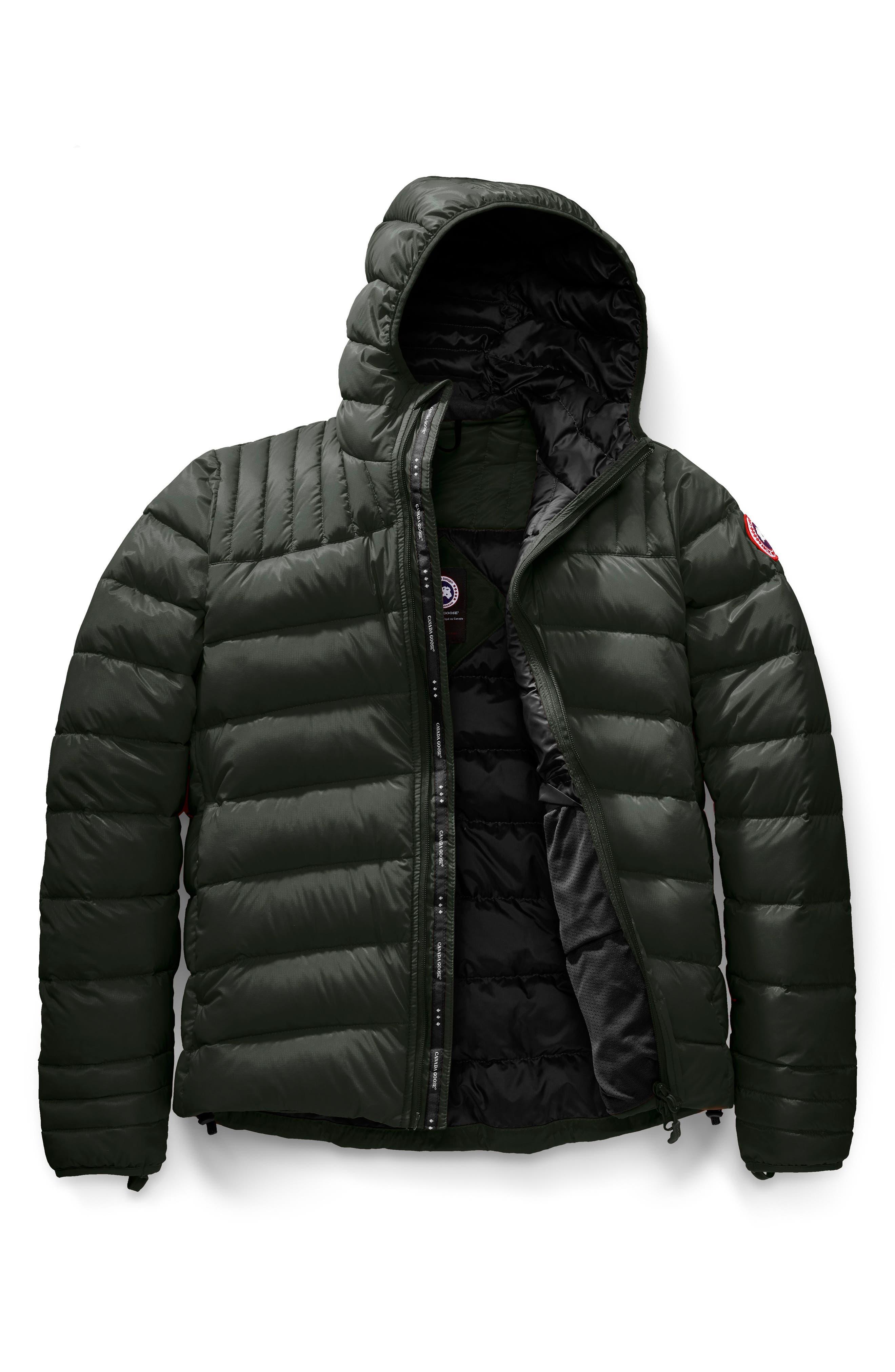 Brookvale Slim Fit Hooded Down Jacket,                             Alternate thumbnail 4, color,                             VOLCANO/ BLACK