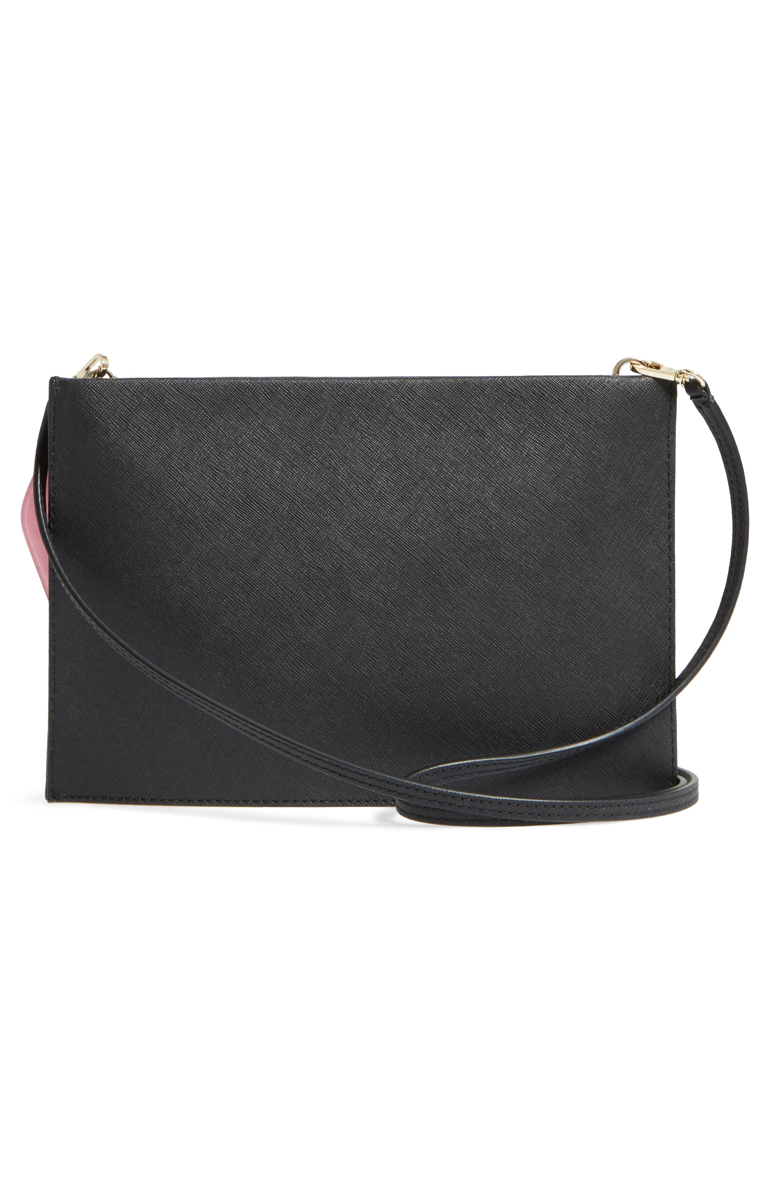 checking in – sima leather crossbody bag,                             Alternate thumbnail 3, color,                             001