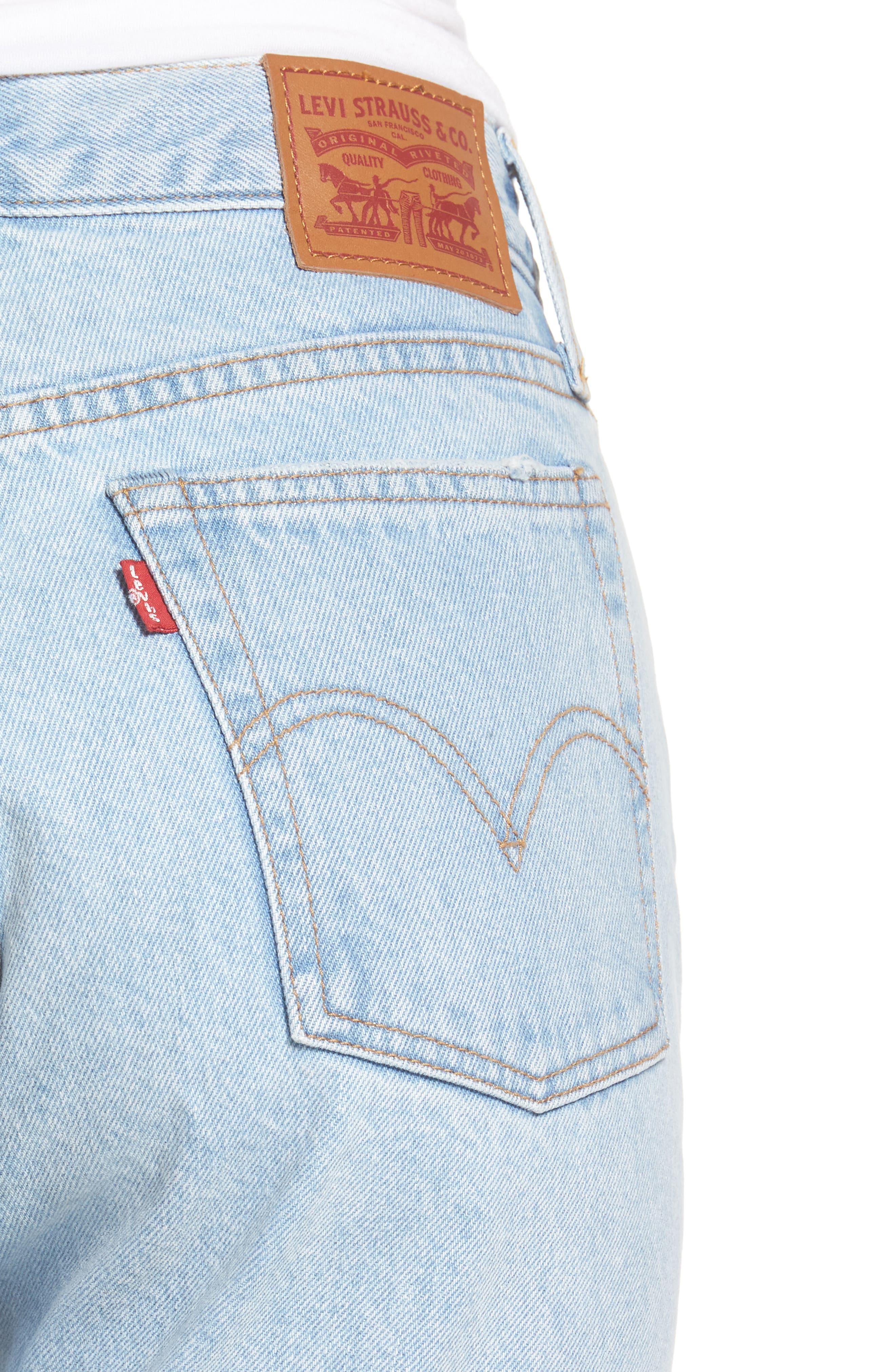 Wedgie High Waist Crop Jeans,                             Alternate thumbnail 4, color,                             450