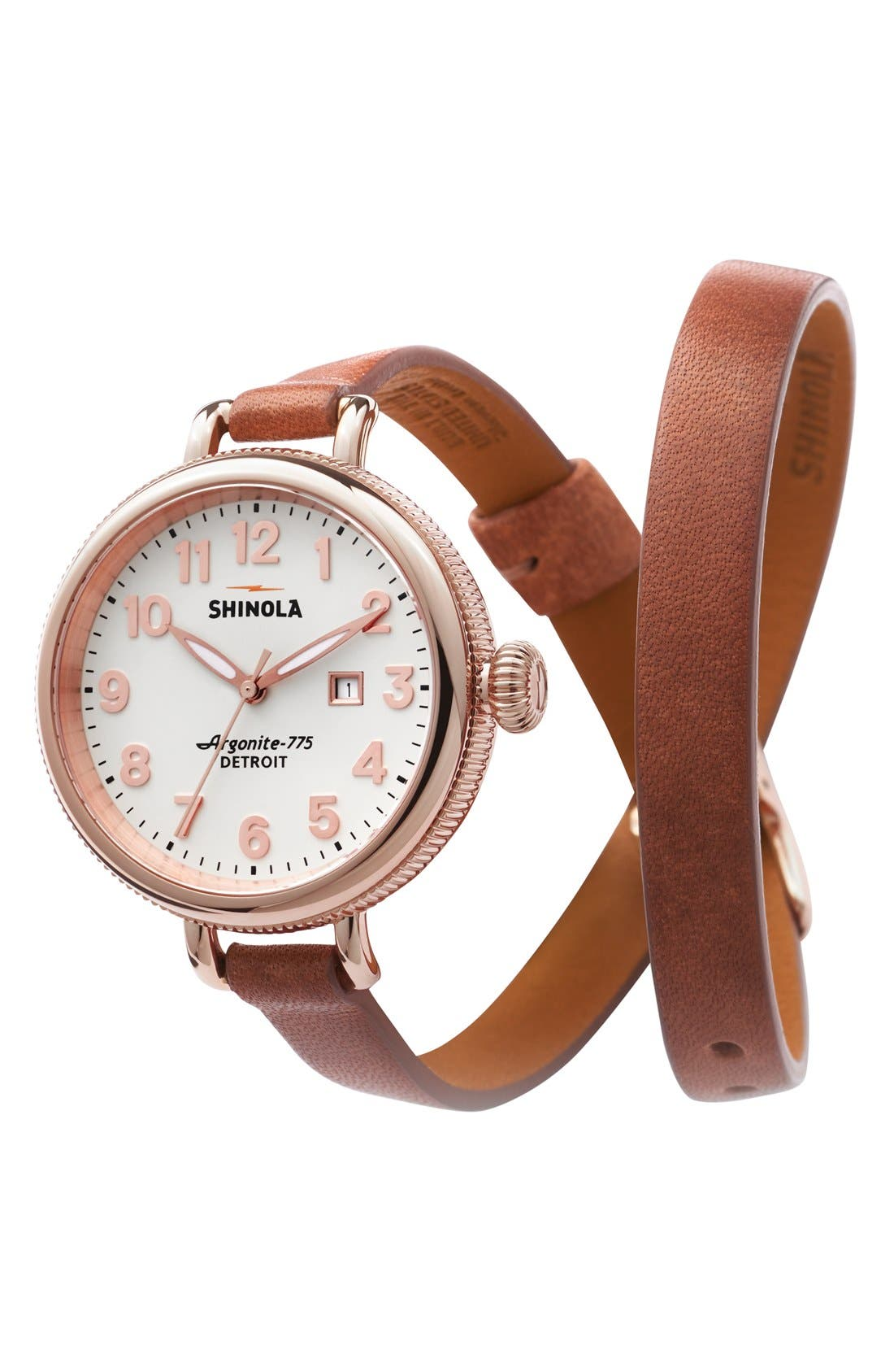 'The Birdy' Double Wrap Leather Strap Watch, 34mm,                             Alternate thumbnail 46, color,