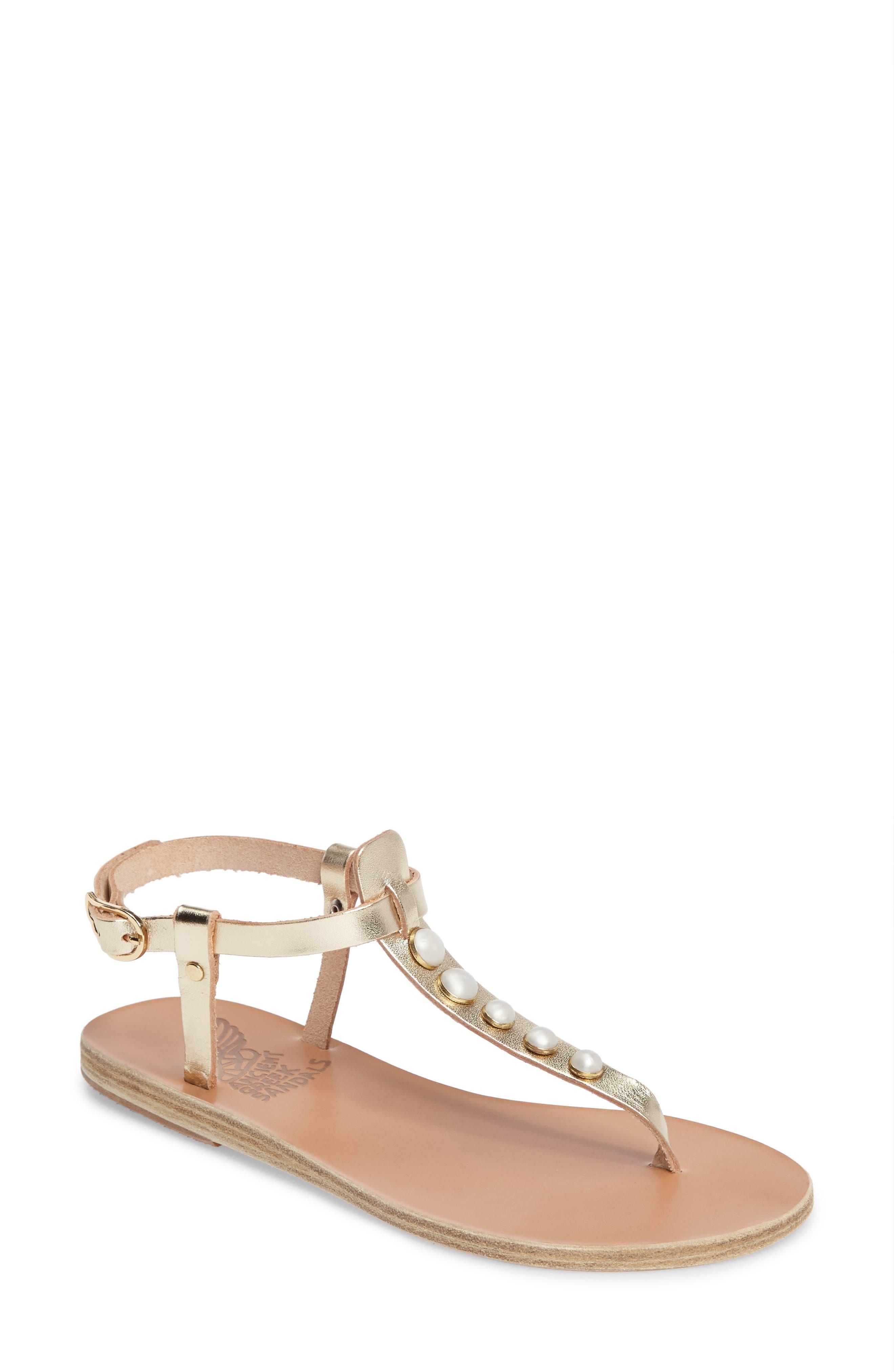 Lito Imitation Pearl Embellished T-Strap Sandal,                             Main thumbnail 1, color,                             040