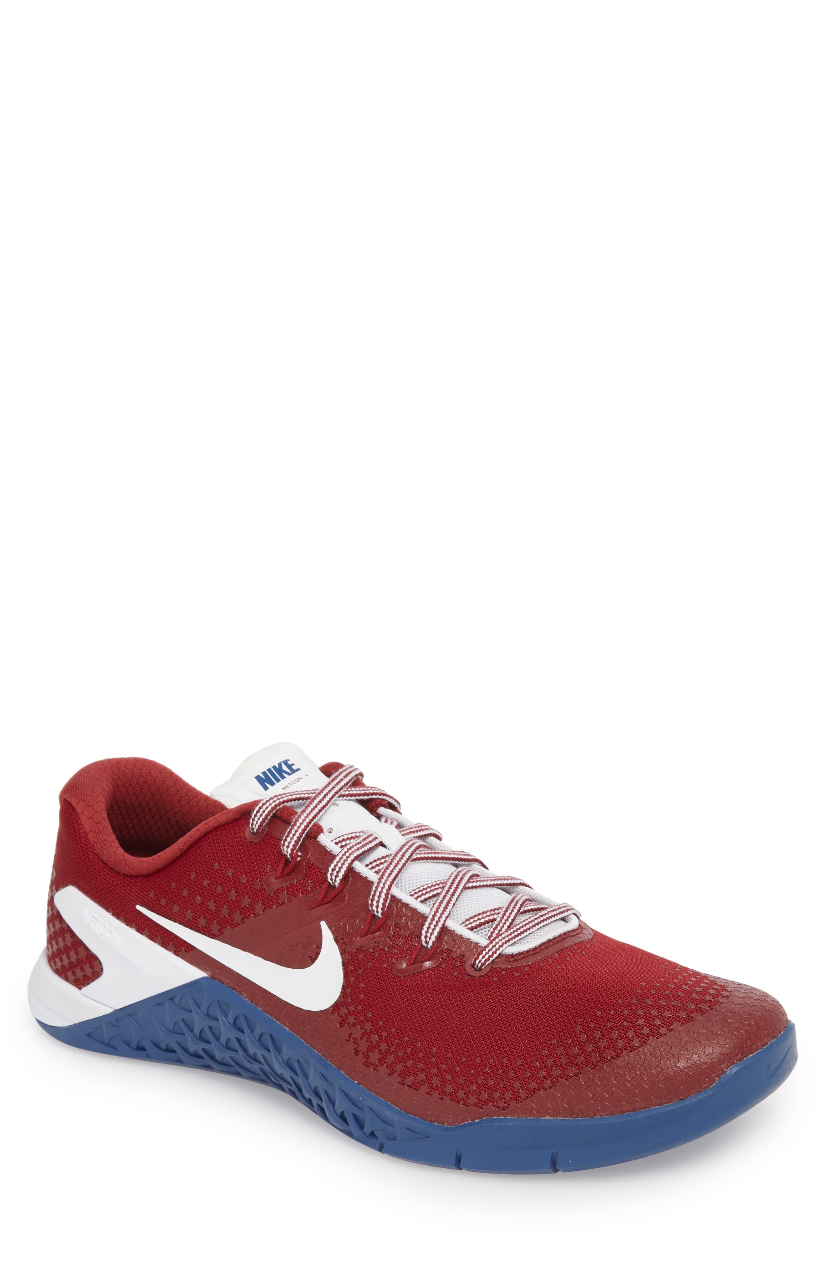Metcon 4 Americana Training Shoe,                             Main thumbnail 1, color,                             TEAM RED/ WHITE/ GYM BLUE