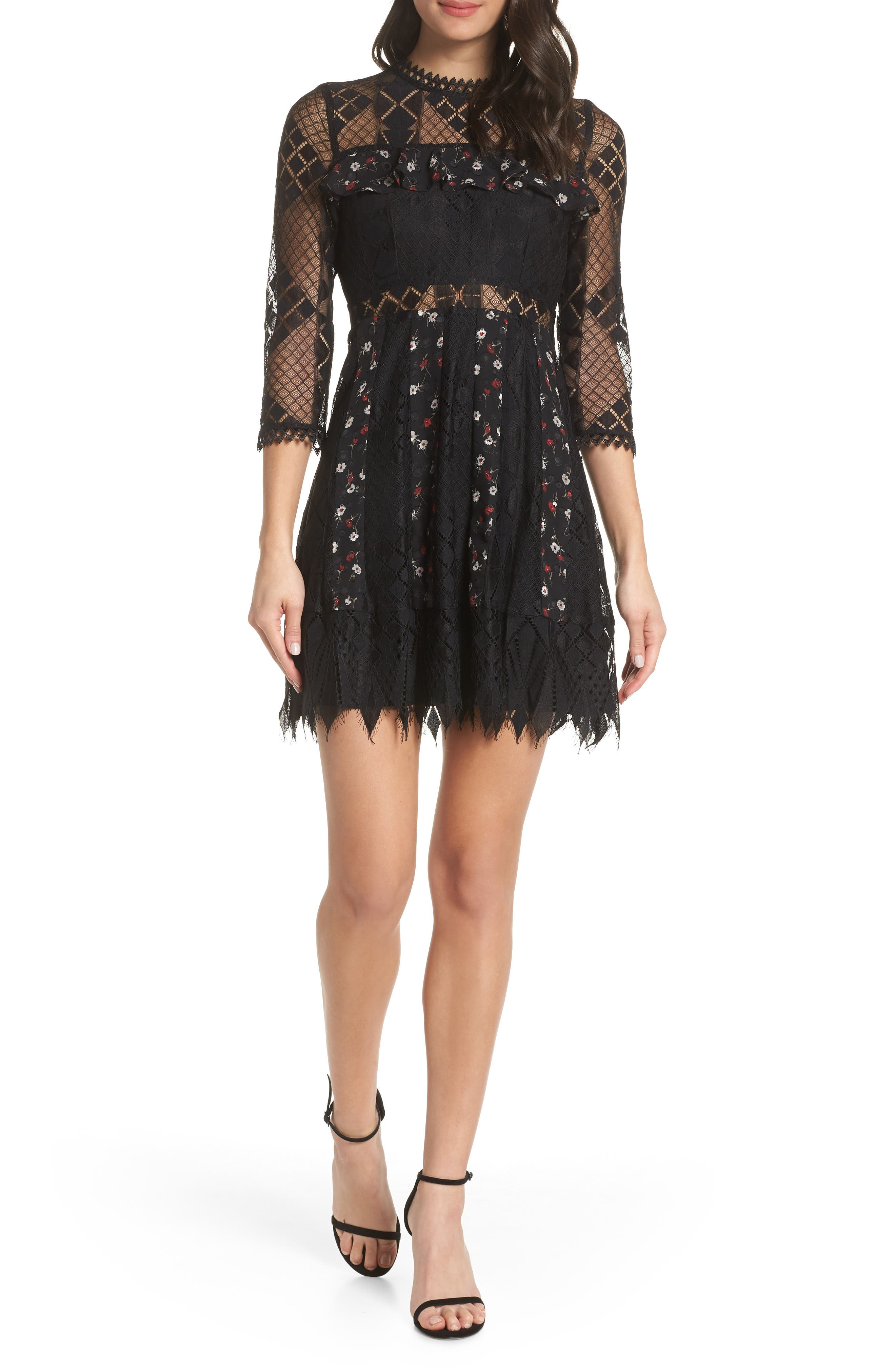 FOXIEDOX Josefine Lace & Clip Dot Cocktail Dress in Black Multi