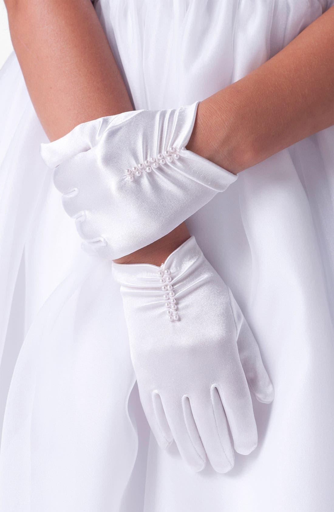 Short Ruched Gloves,                             Main thumbnail 1, color,                             100