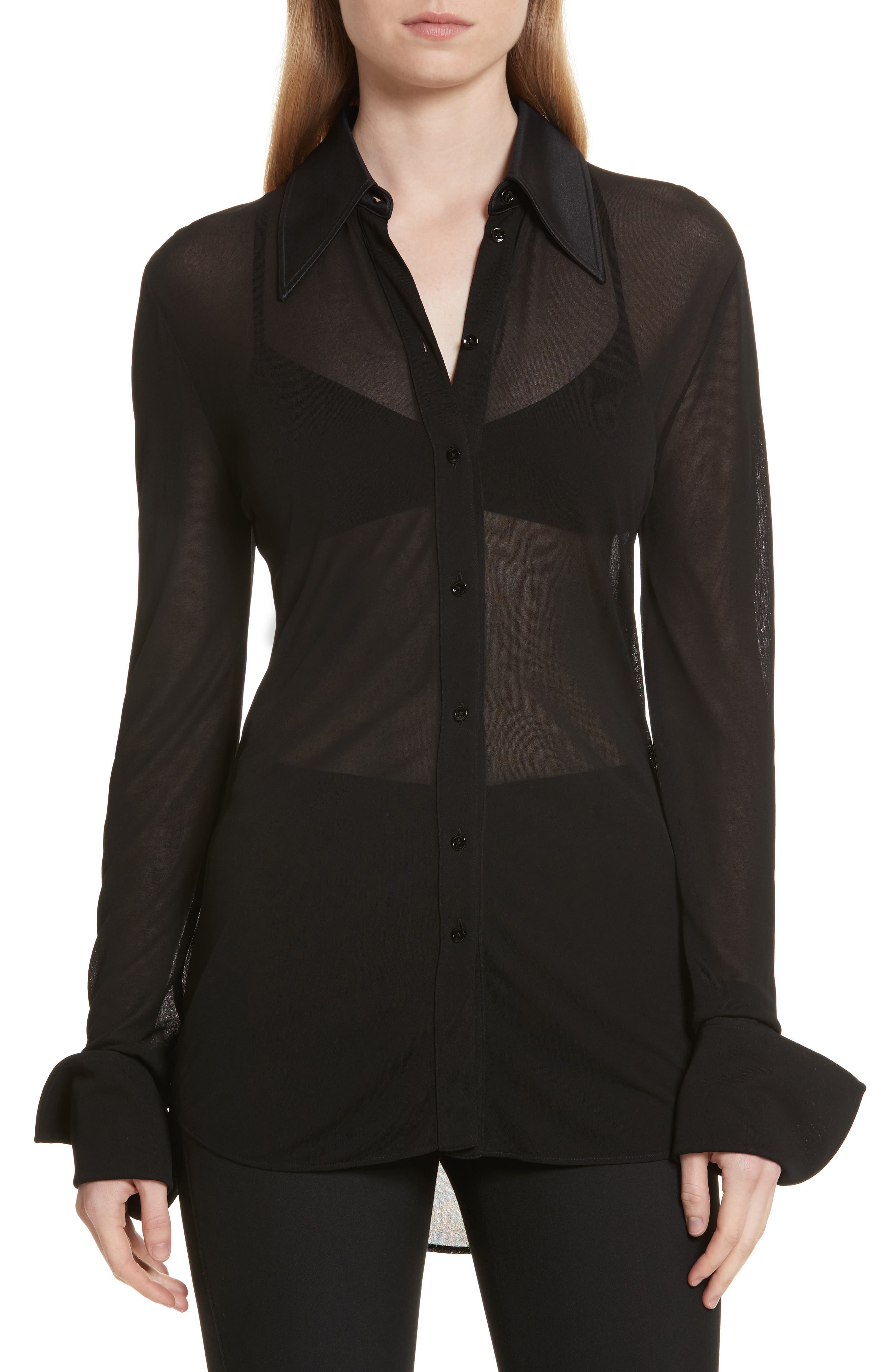 Slater Sheer Crepe Net Shirt,                         Main,                         color, 001