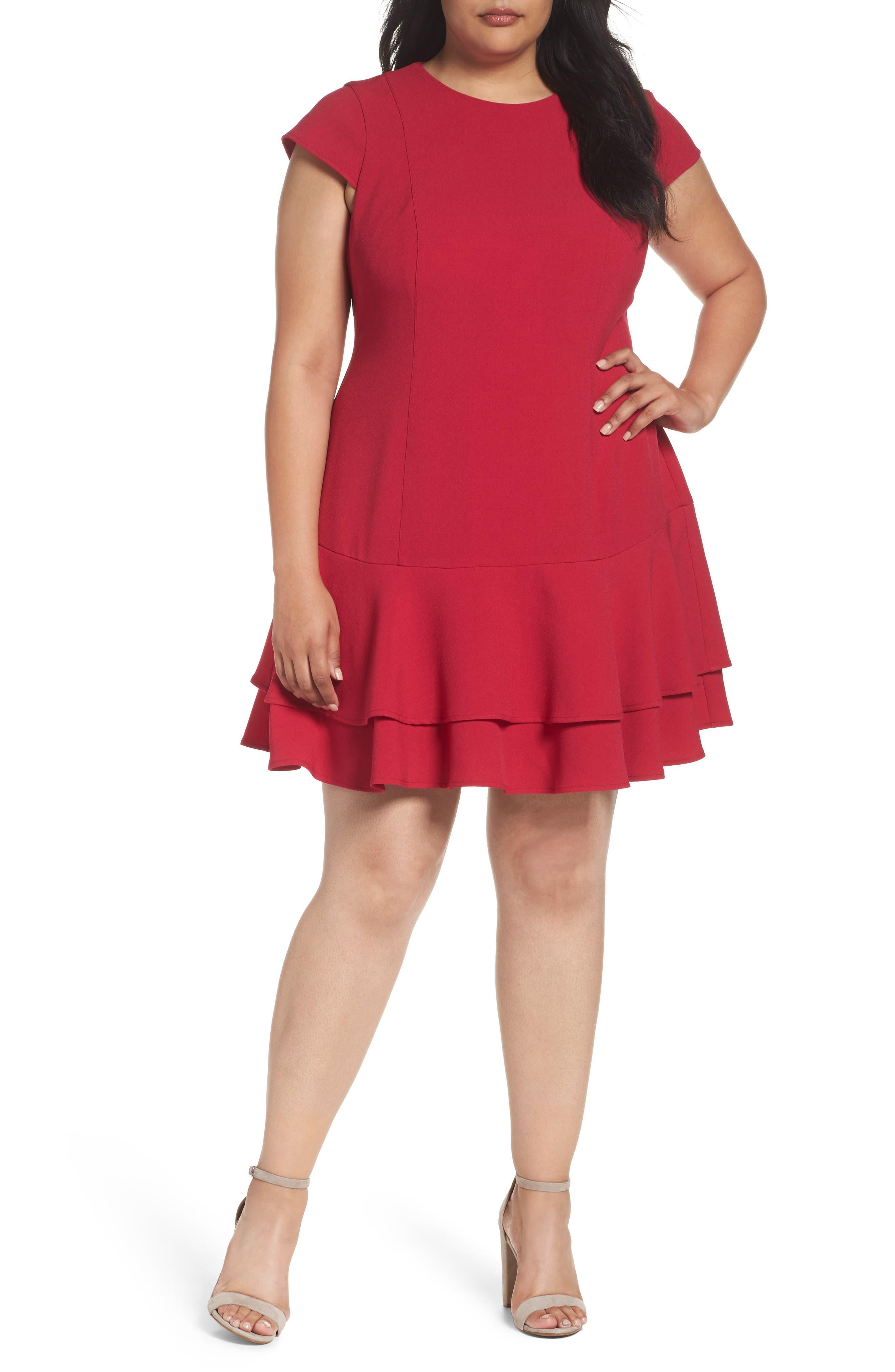Plus Size Eliza J Crepe Drop Waist Dress, Red