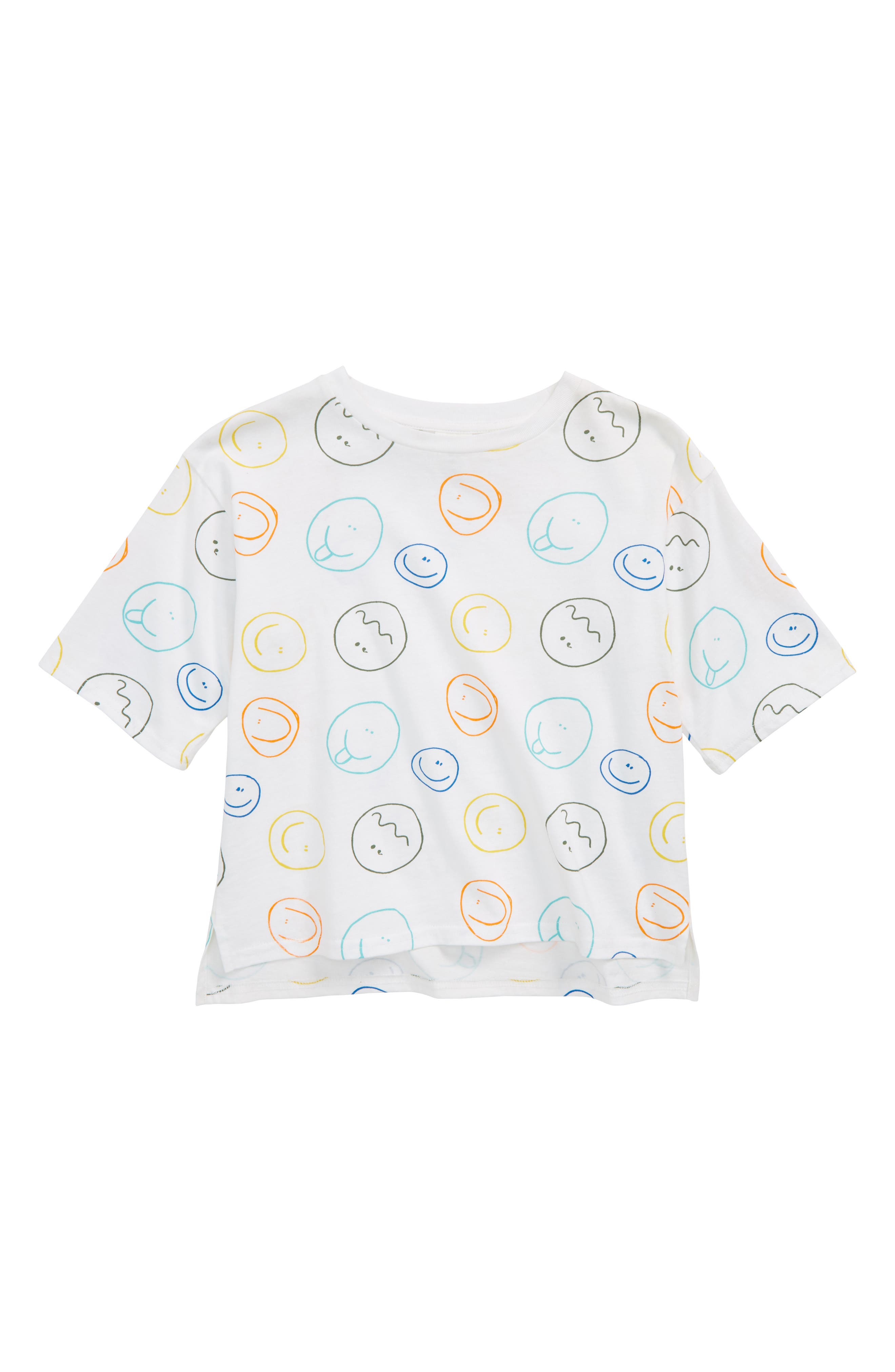 Graphic T-Shirt,                         Main,                         color, WHITE- MULTI SMILEY FACES
