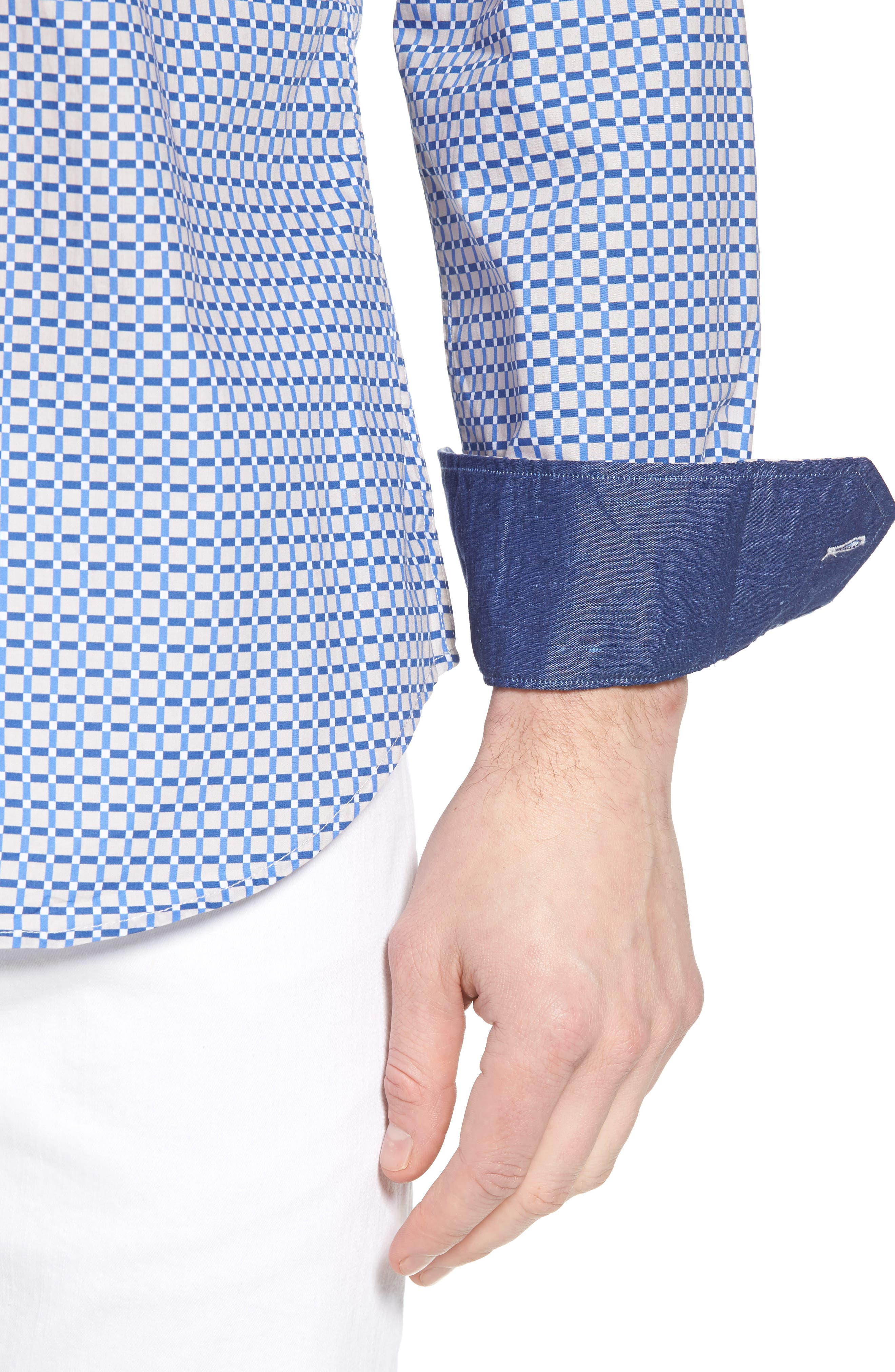 Shaped Fit Print Sport Shirt,                             Alternate thumbnail 4, color,                             104