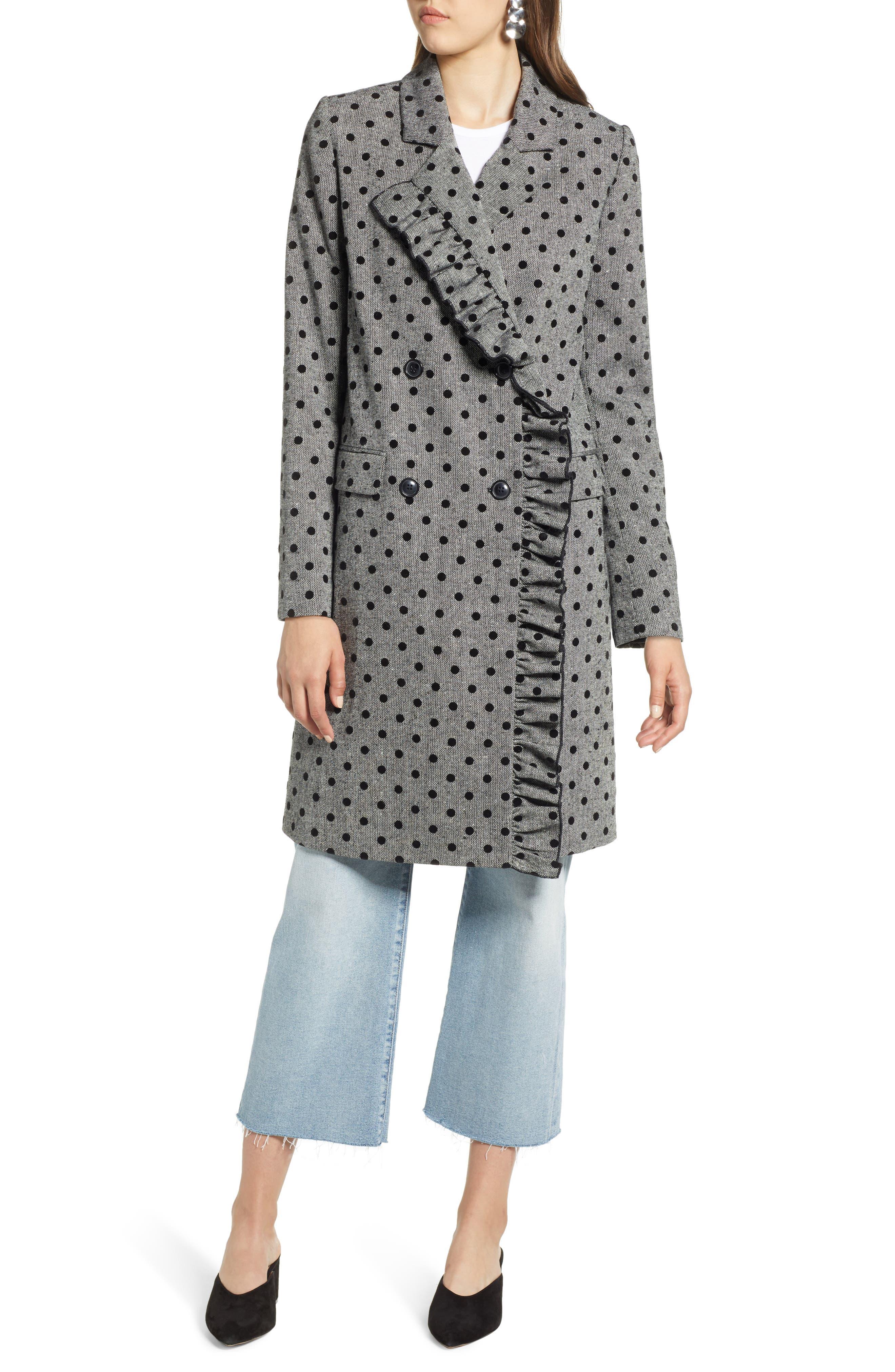 Flocked Dot Coat,                         Main,                         color, GREY- BLACK DOT