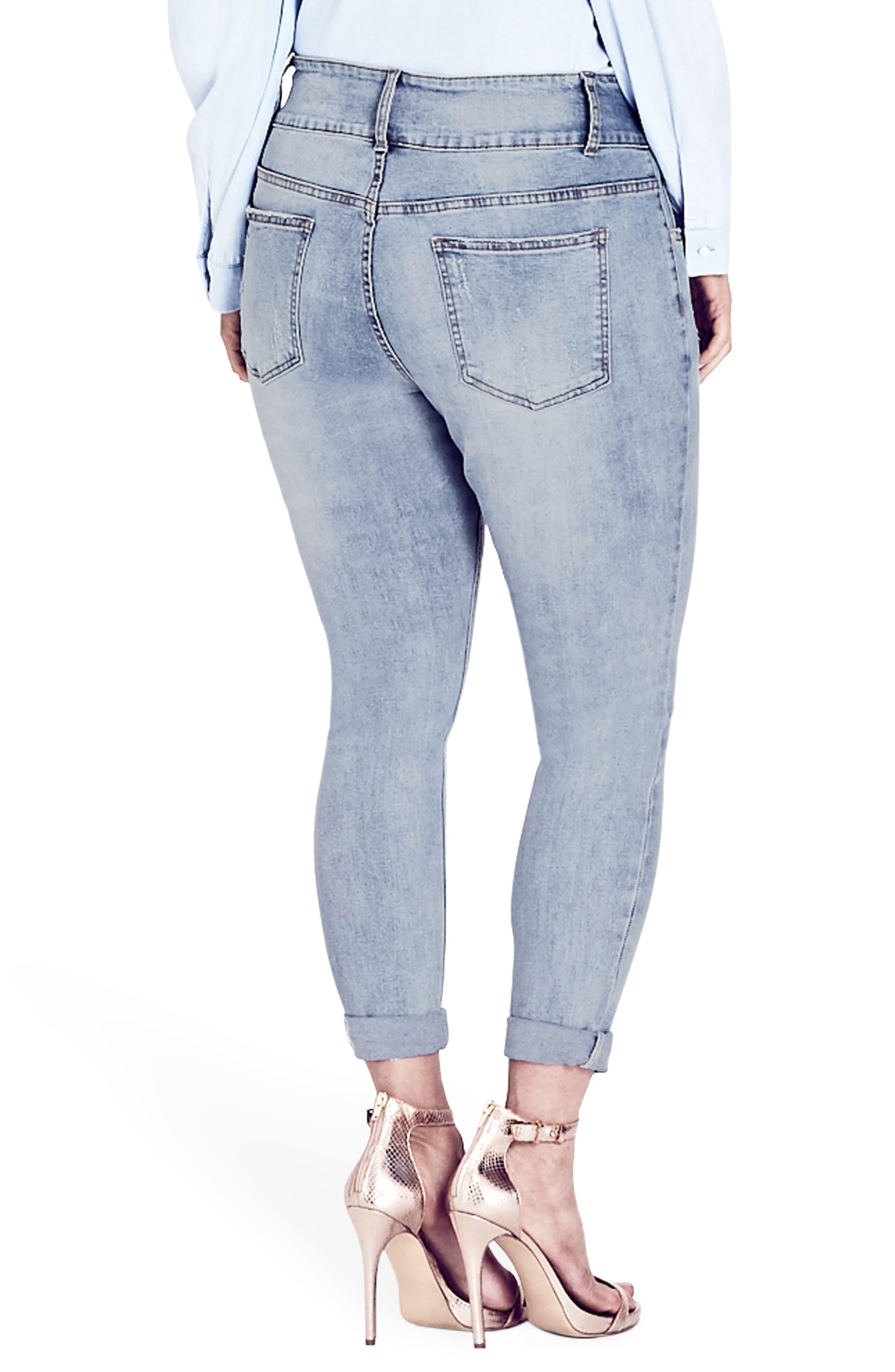 Asha Rip & Roll Jeans,                             Alternate thumbnail 2, color,                             LIGHT DENIM