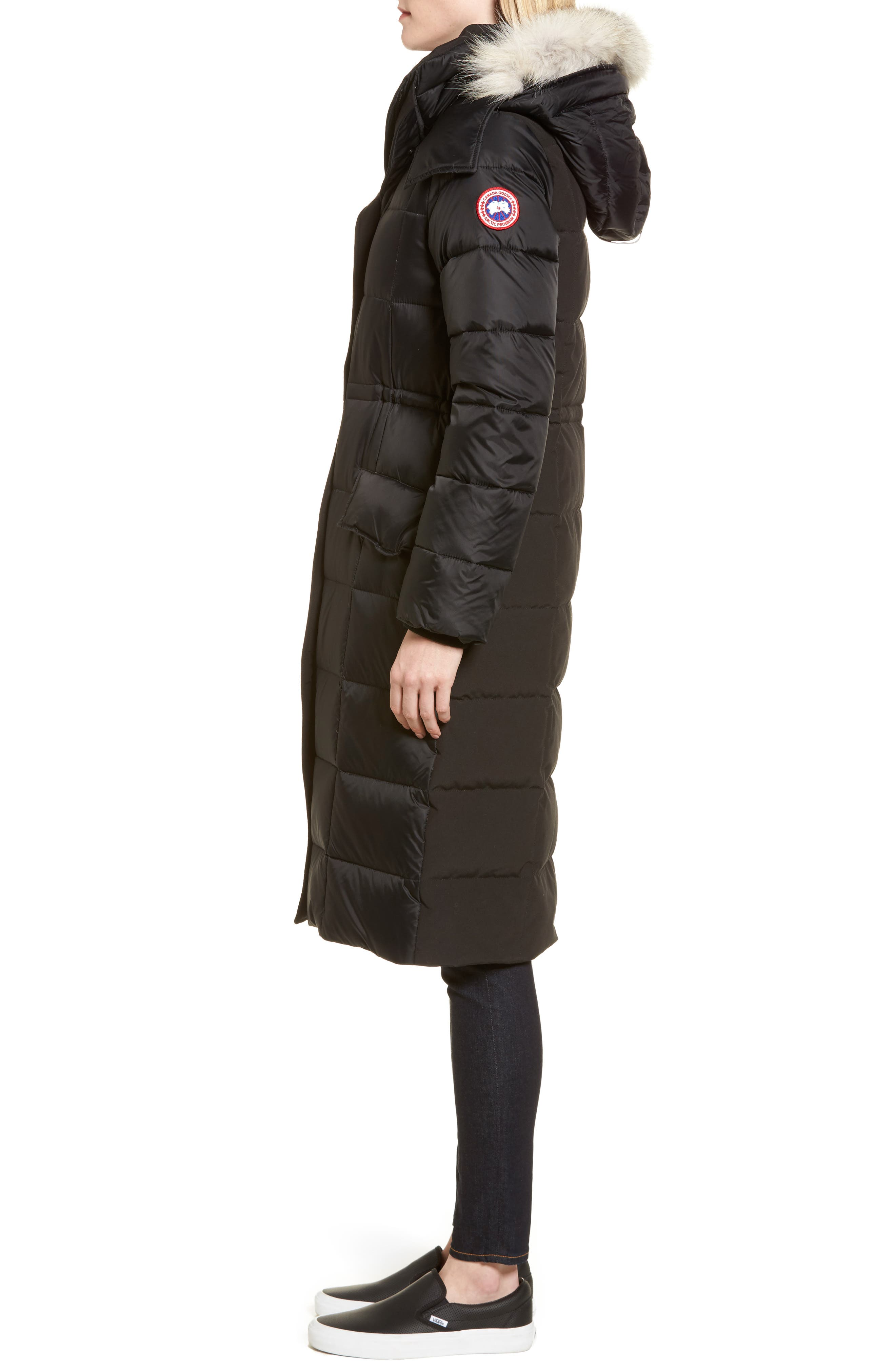 Lunenberg Hooded Down Parka with Genuine Coyote Fur Trim,                             Alternate thumbnail 3, color,                             001